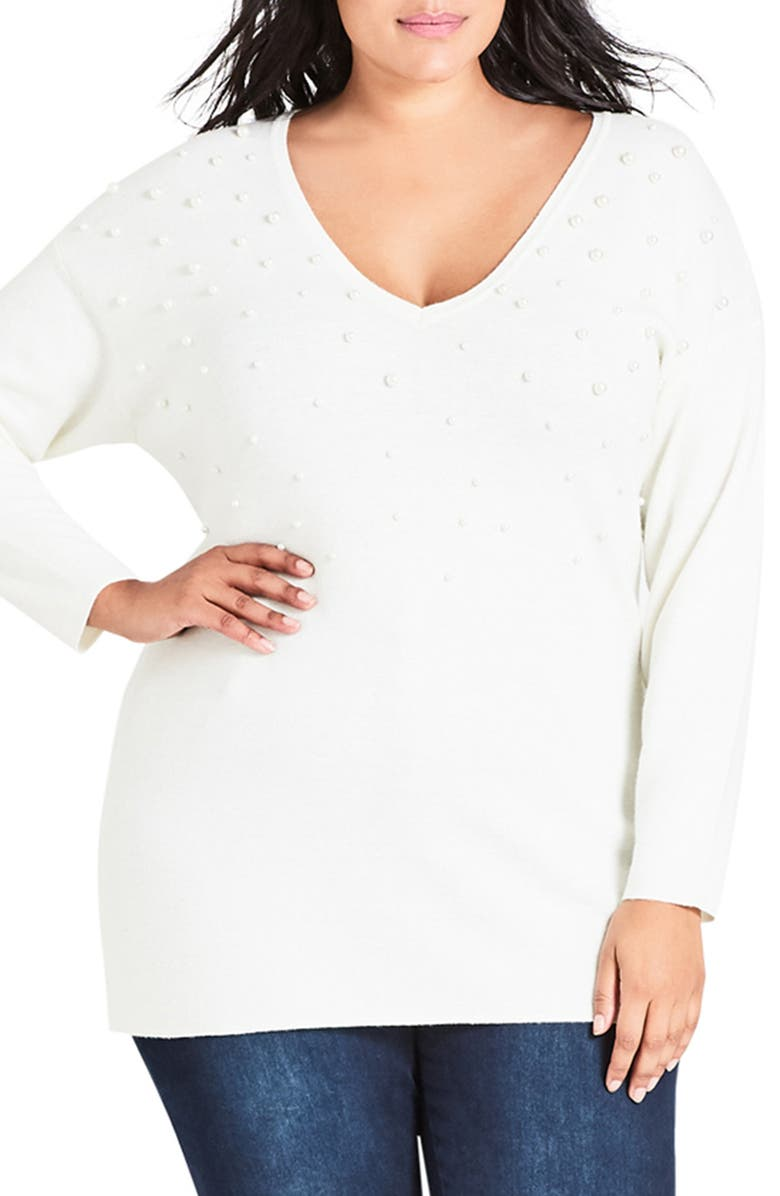 City Chic PRETTY PEARL SWEATER