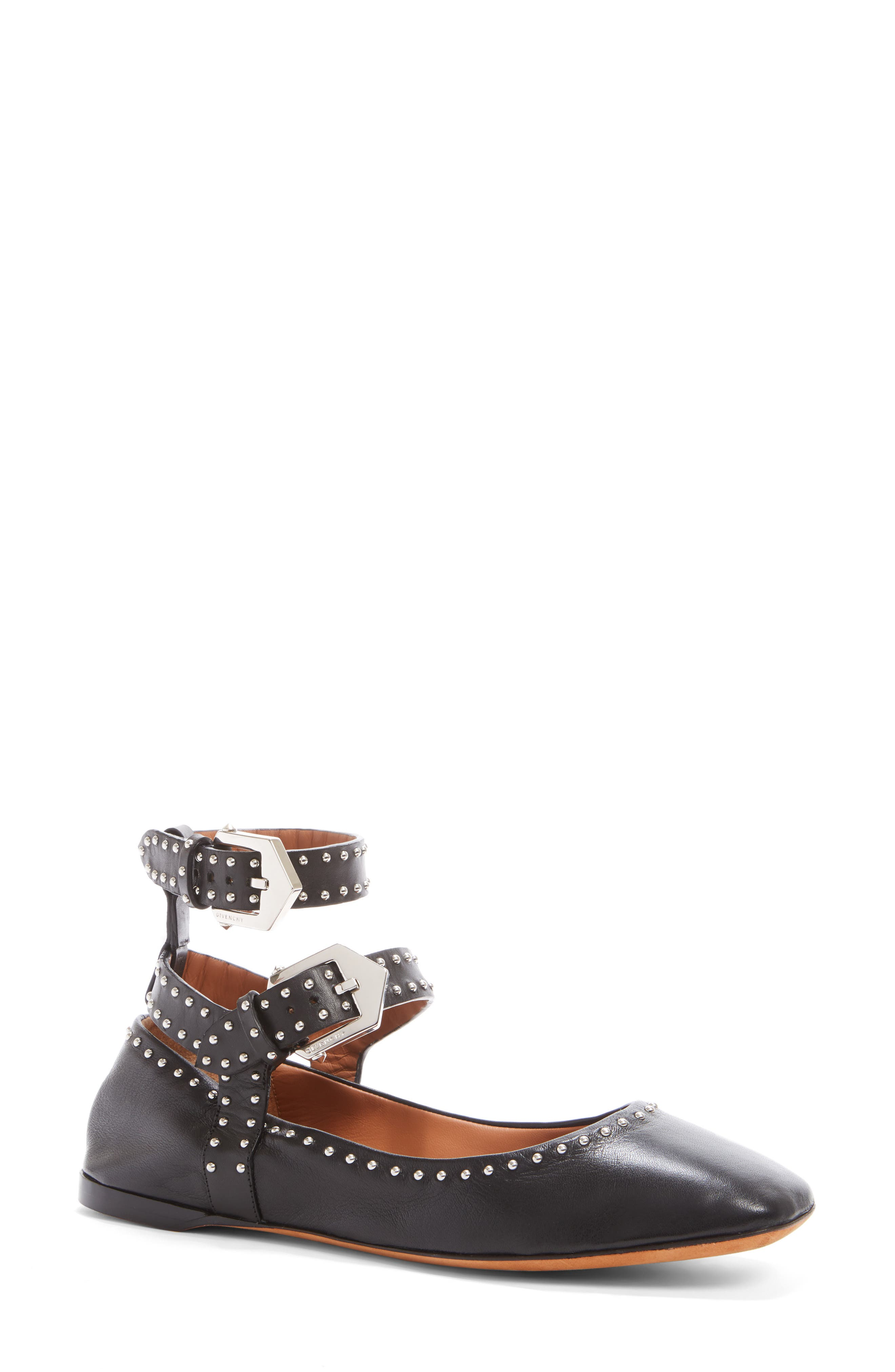 Studded Ankle Strap Flat,                             Main thumbnail 1, color,