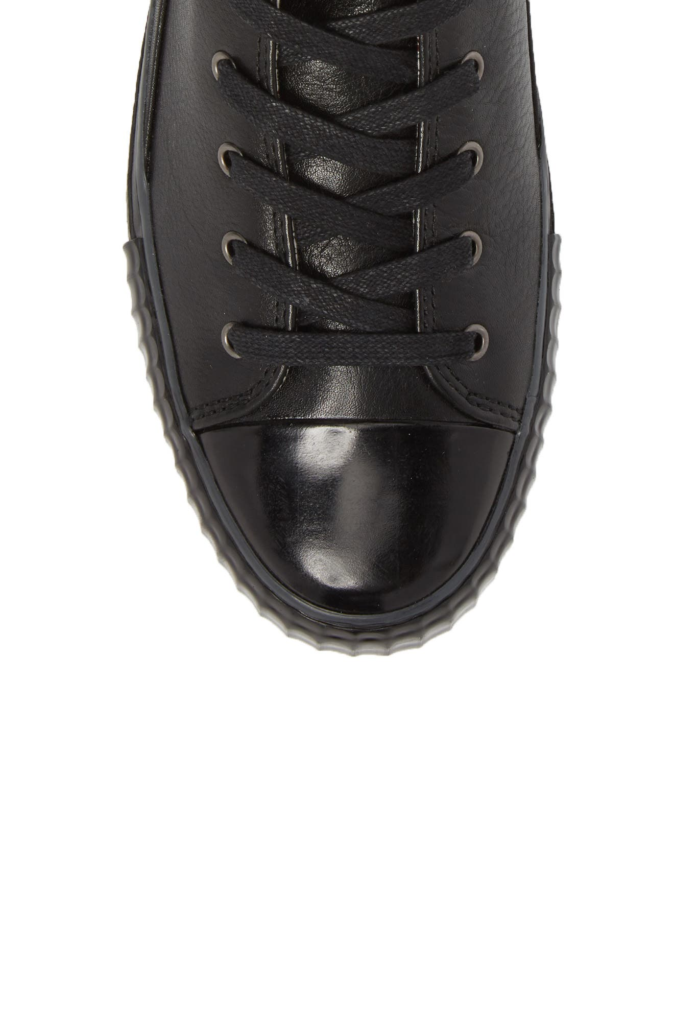 Bootleg High Top Sneaker,                             Alternate thumbnail 5, color,                             BLACK LEATHER