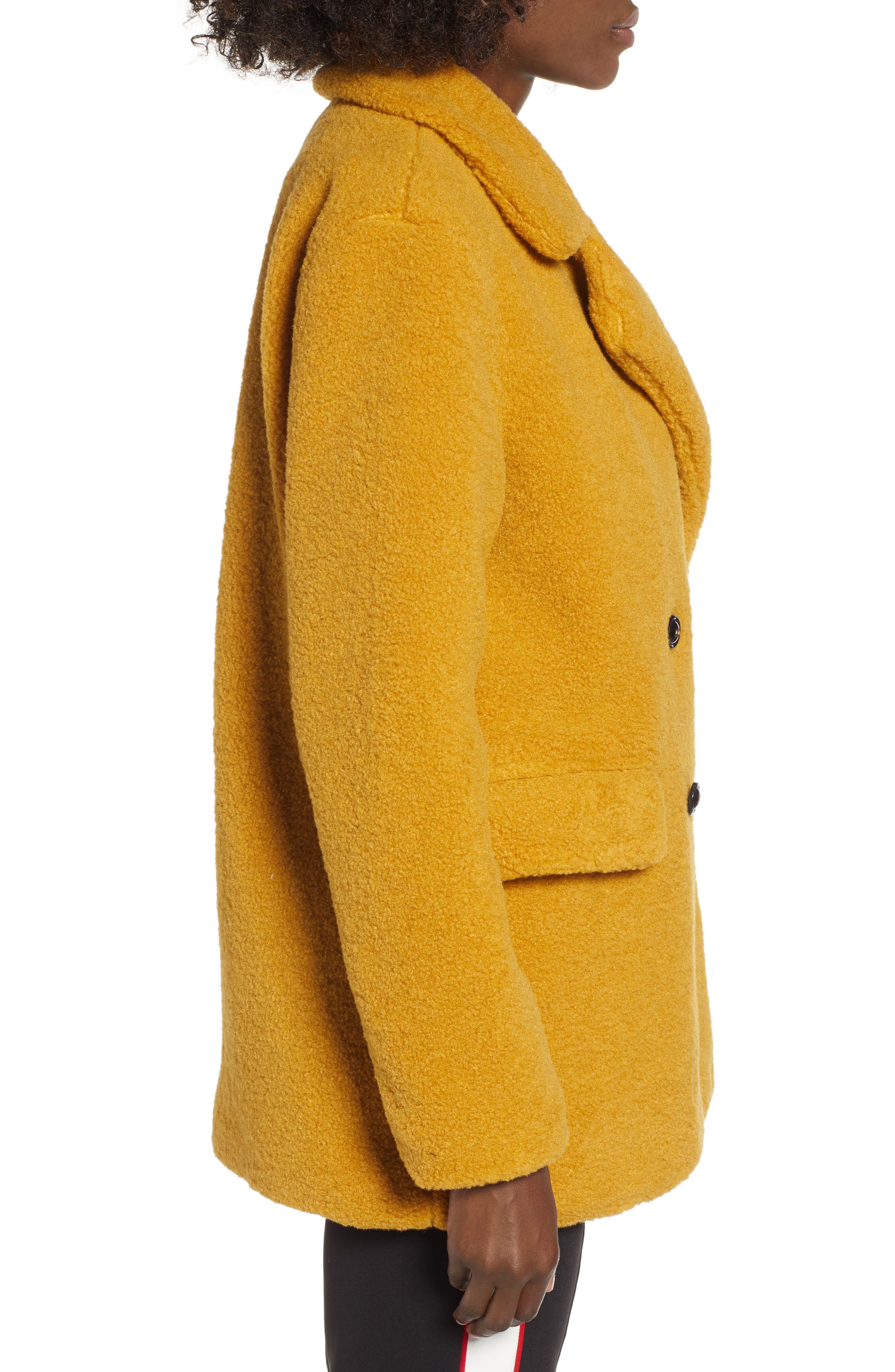 Textured Double Breasted Coat,                             Alternate thumbnail 3, color,                             YELLOW MINERAL