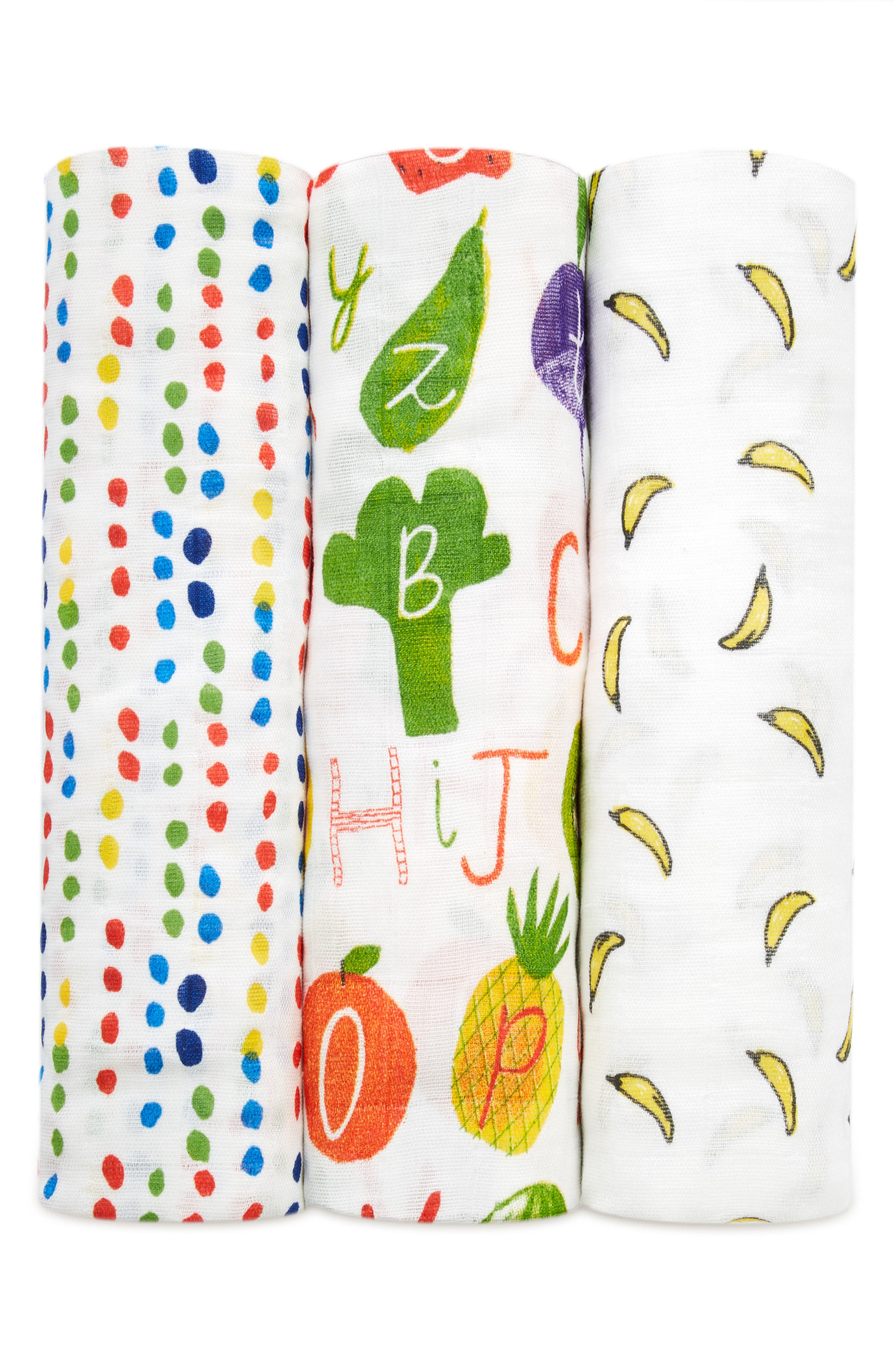 3-Pack Silky Soft Swaddling Cloths,                             Alternate thumbnail 4, color,                             TUTTI FRUTTI