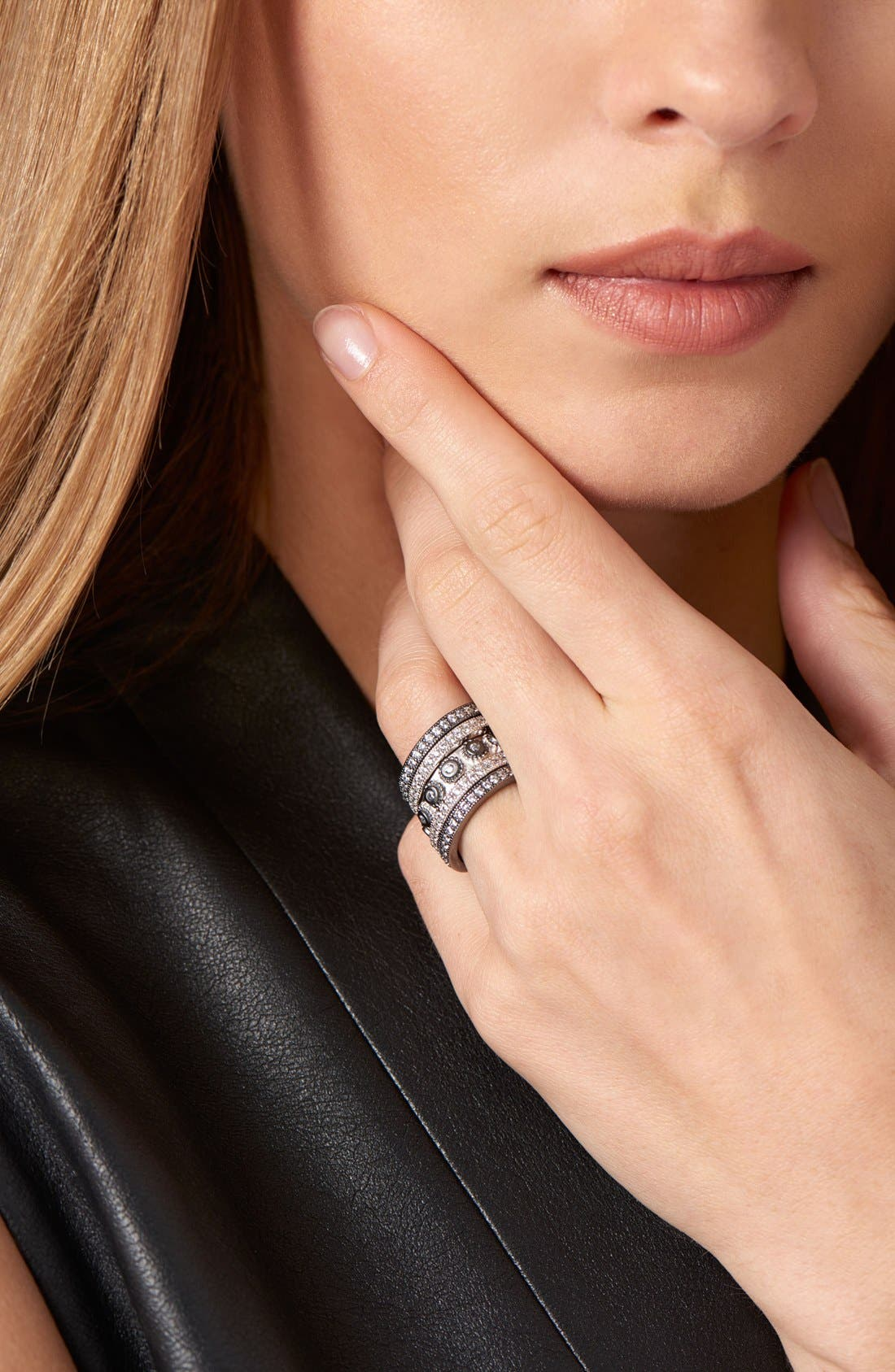 'Contemporary Deco' Stacking Rings,                             Alternate thumbnail 4, color,                             SILVER/ BLACK