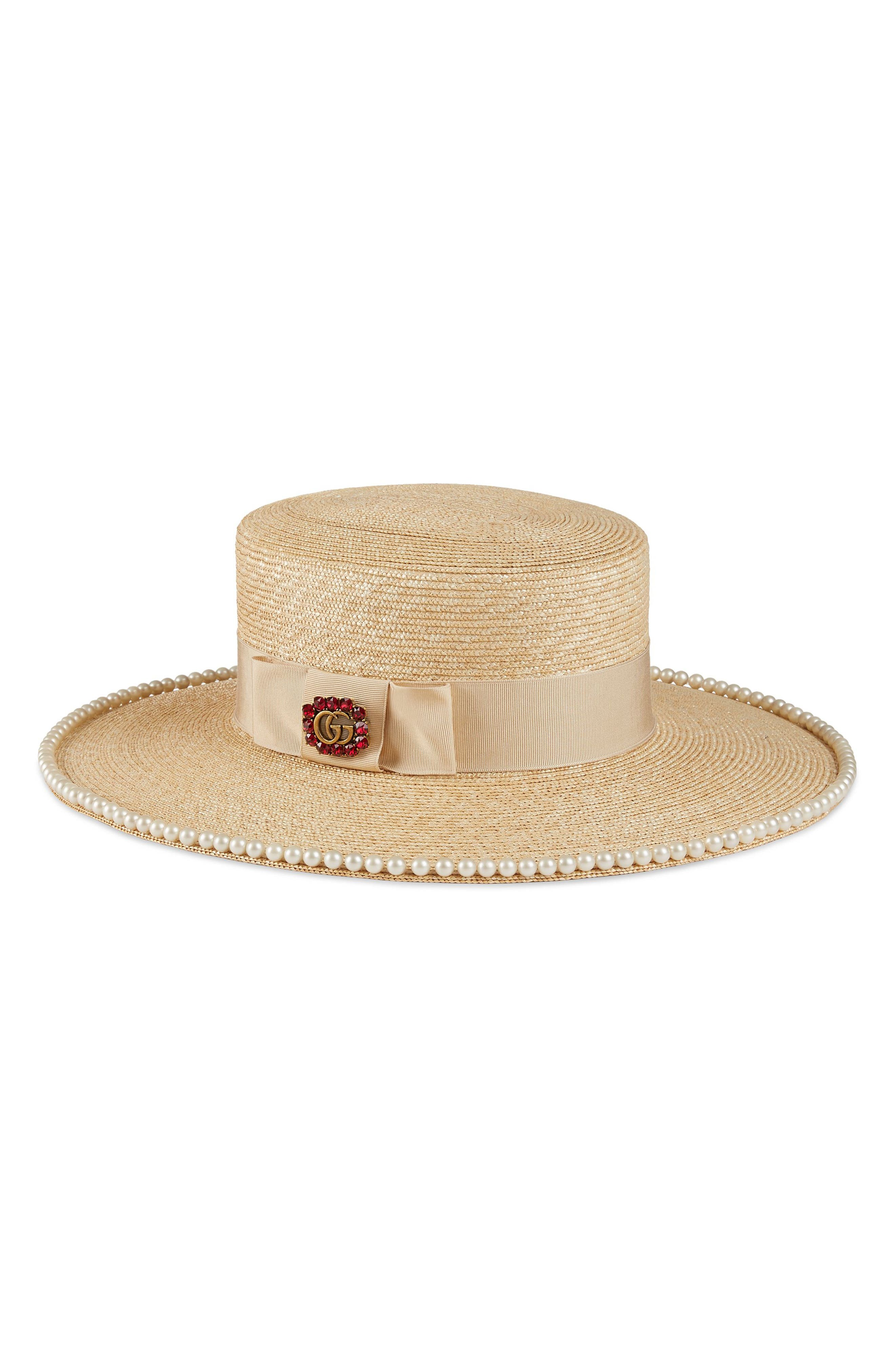 Notte Embellished Straw Hat,                             Main thumbnail 1, color,                             155