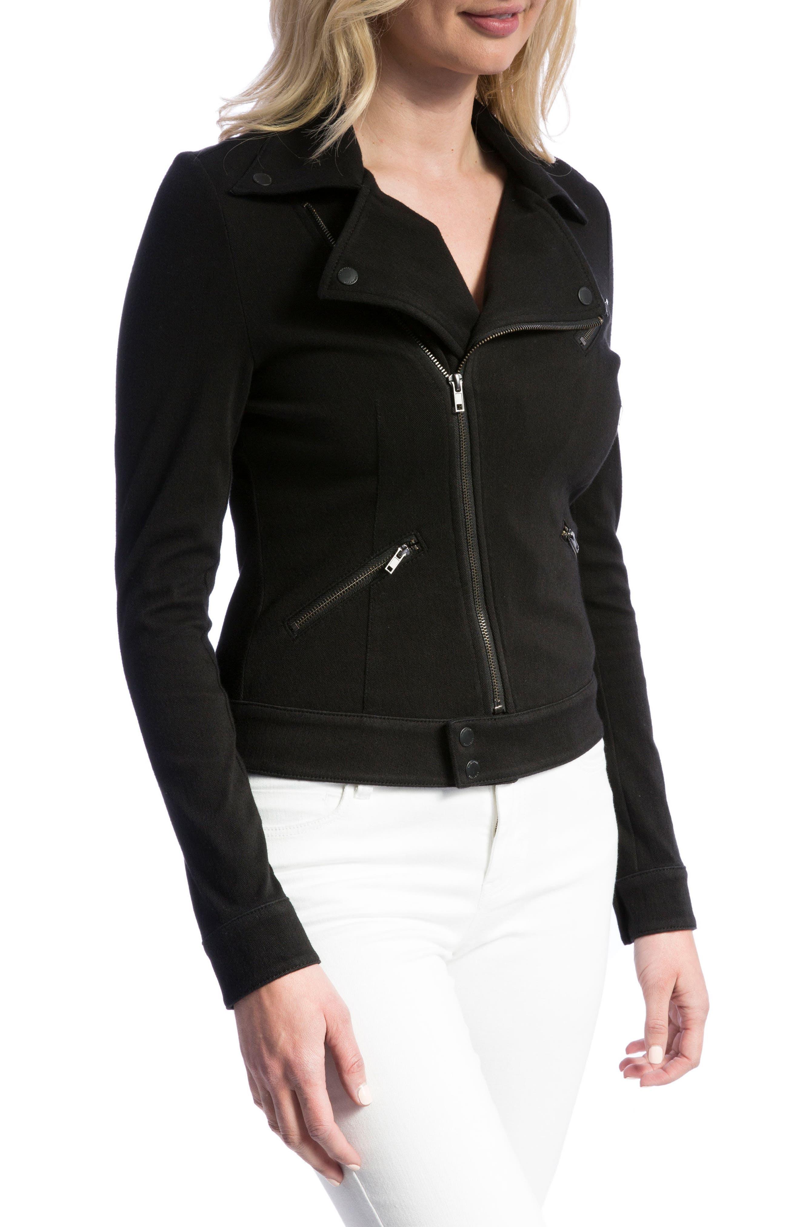 New Moto Stretch Cotton Jacket,                             Alternate thumbnail 3, color,                             BLACK RINSE