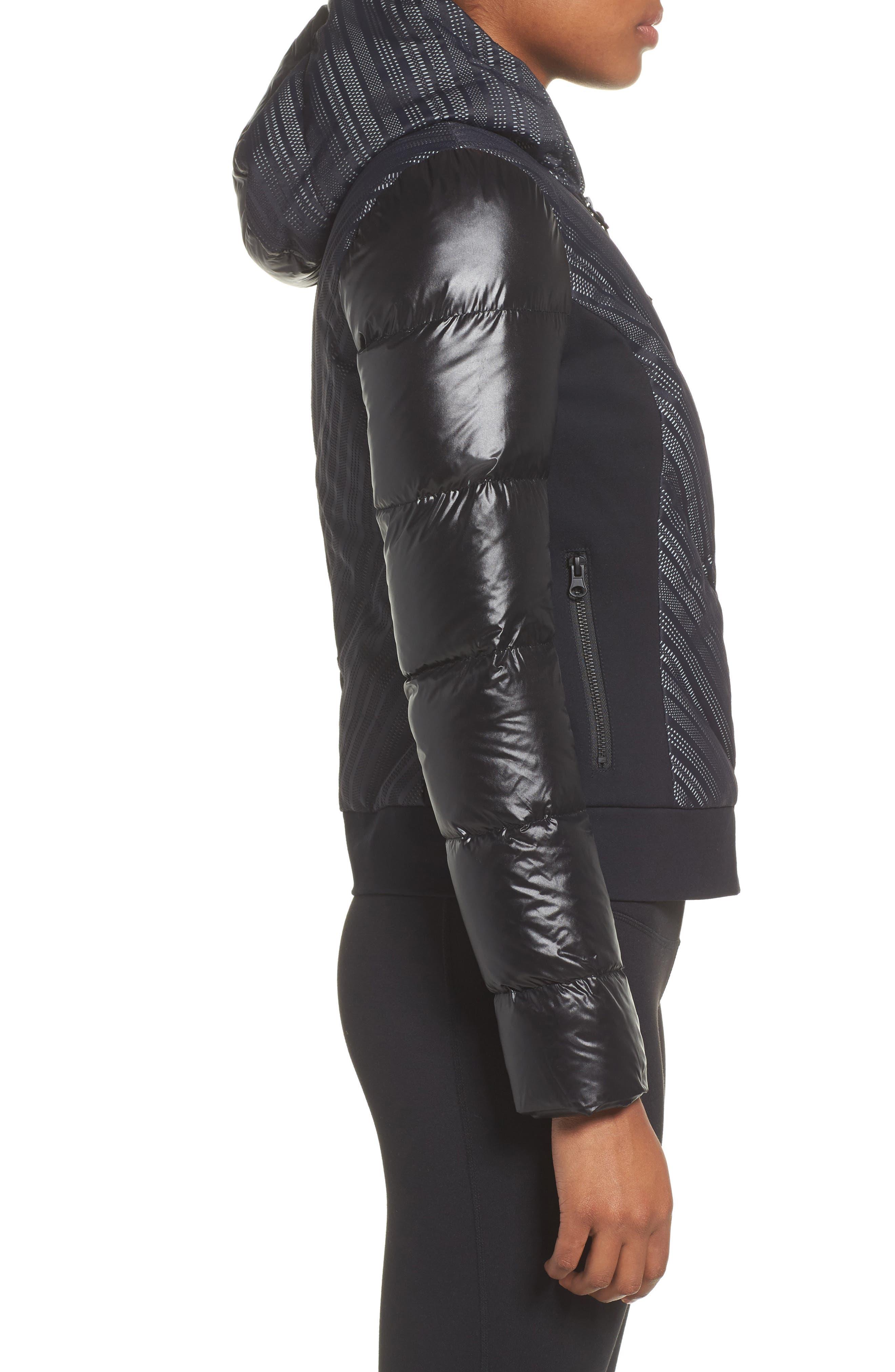 Chevron Reflective Puffer Jacket,                             Alternate thumbnail 3, color,                             001