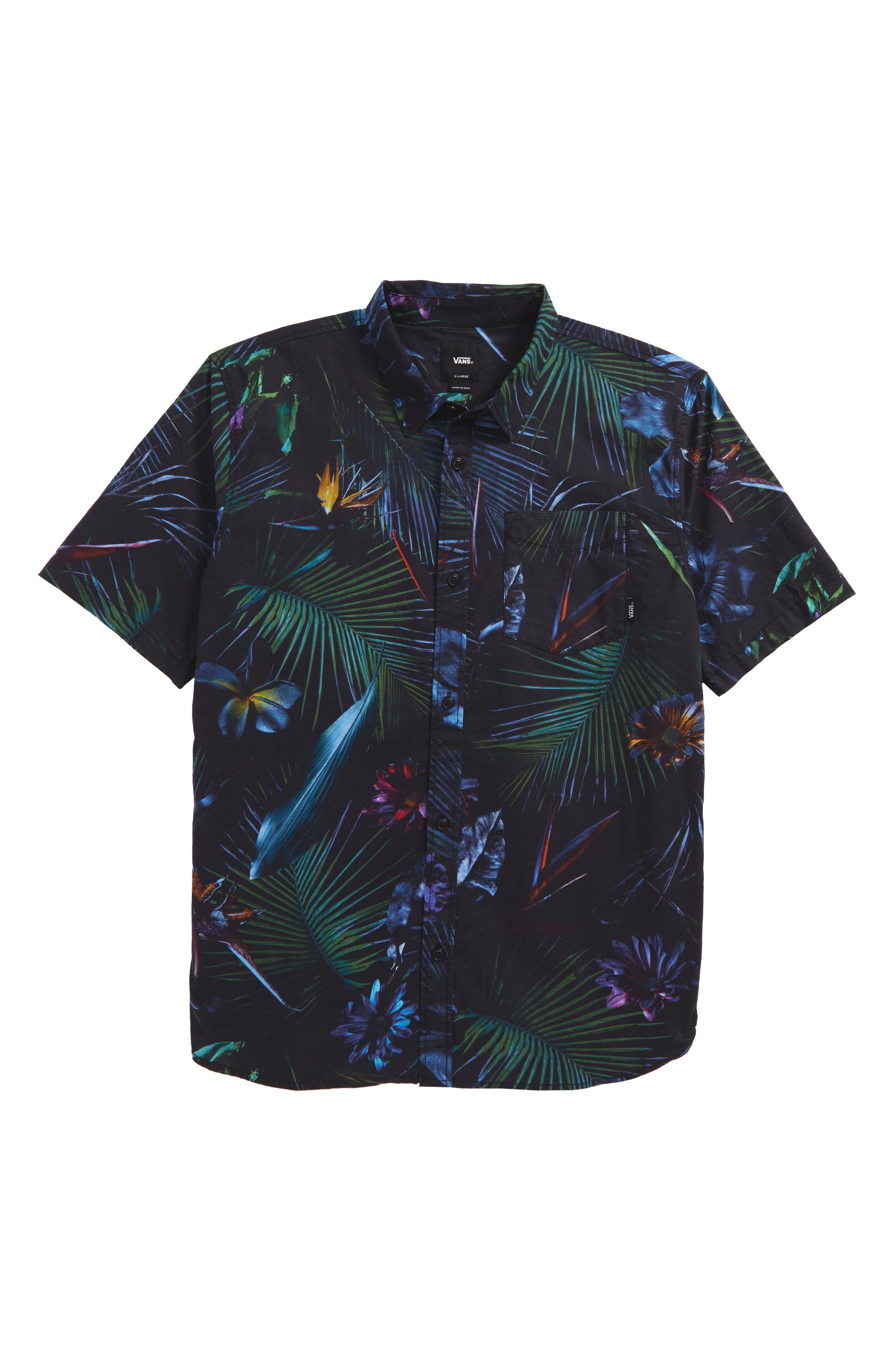 Neo Jungle Short Sleeve Woven Shirt,                             Main thumbnail 1, color,                             001