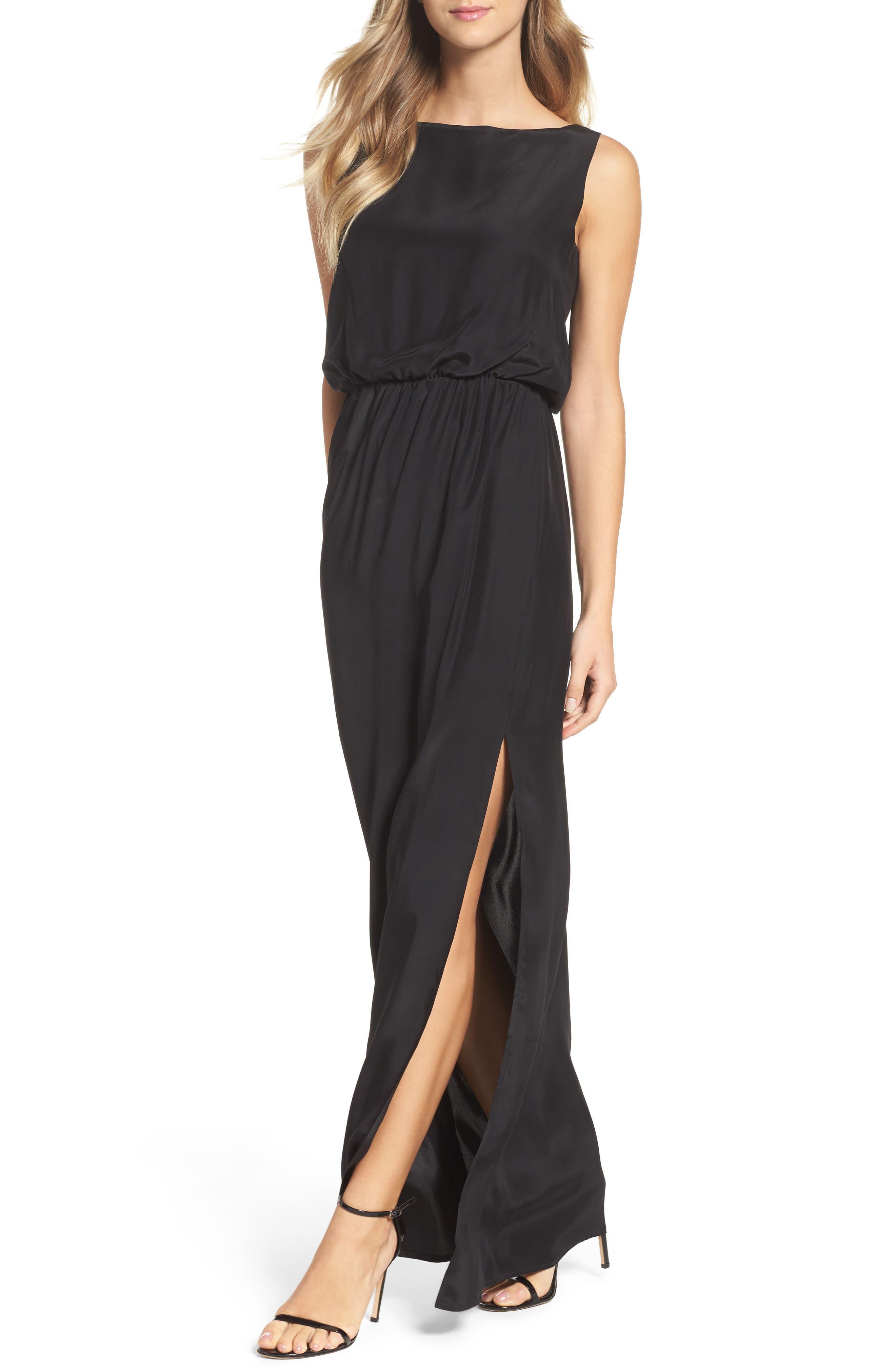 Drape Back Silk Column Gown,                             Alternate thumbnail 4, color,                             001