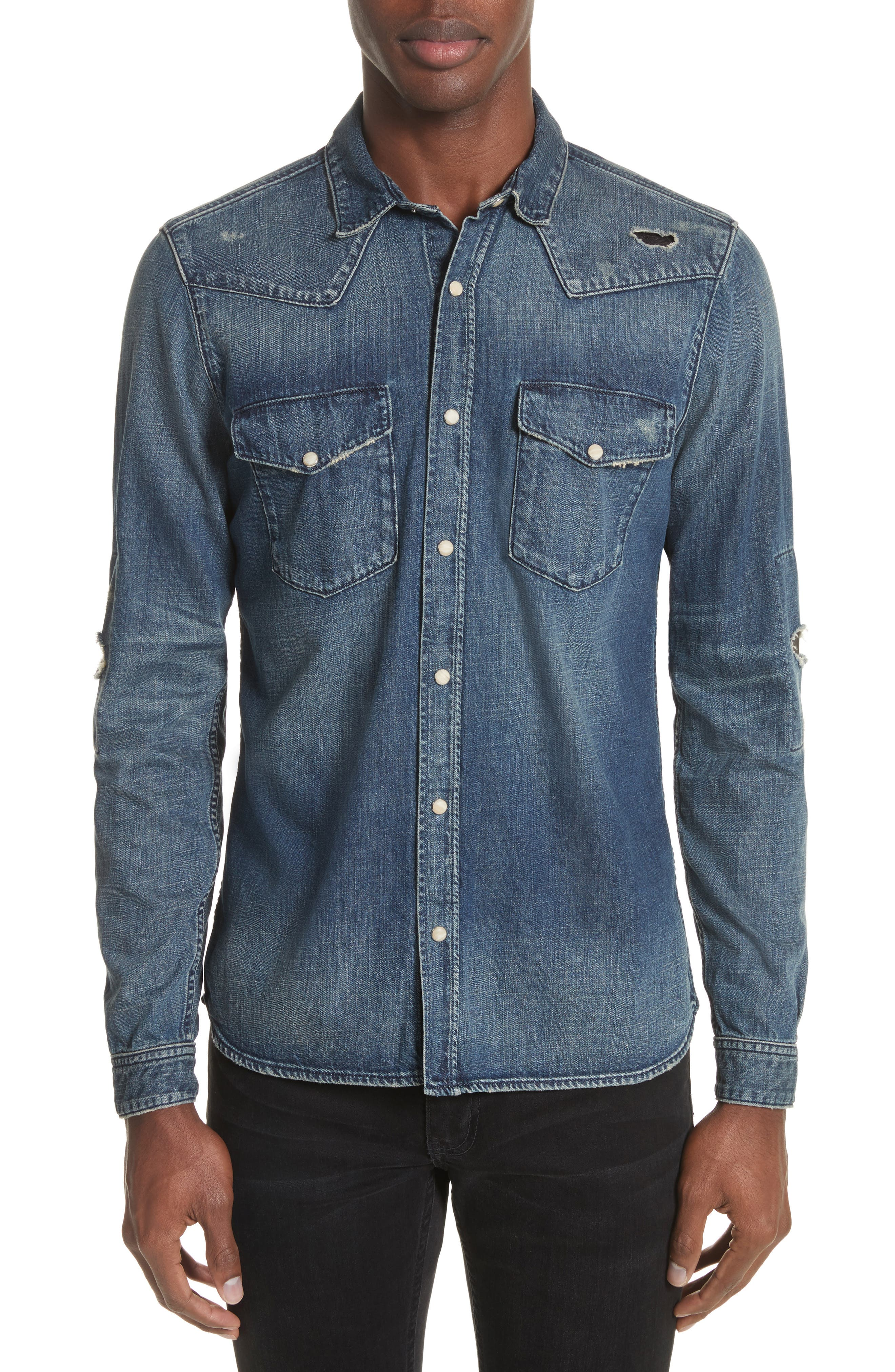 Distressed Denim Western Shirt,                             Main thumbnail 1, color,                             400