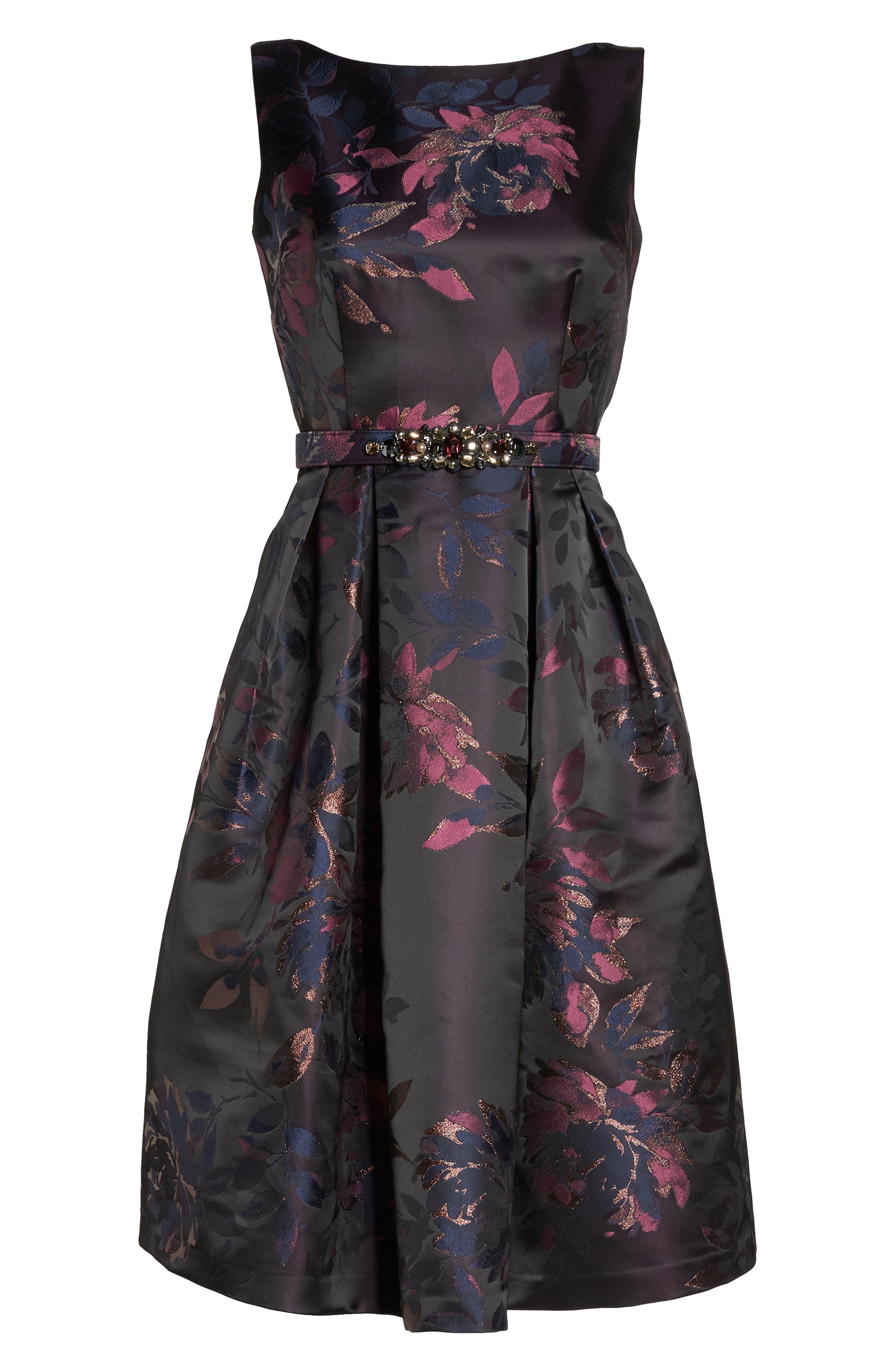 Brocade Fit & Flare Dress,                             Alternate thumbnail 7, color,                             410