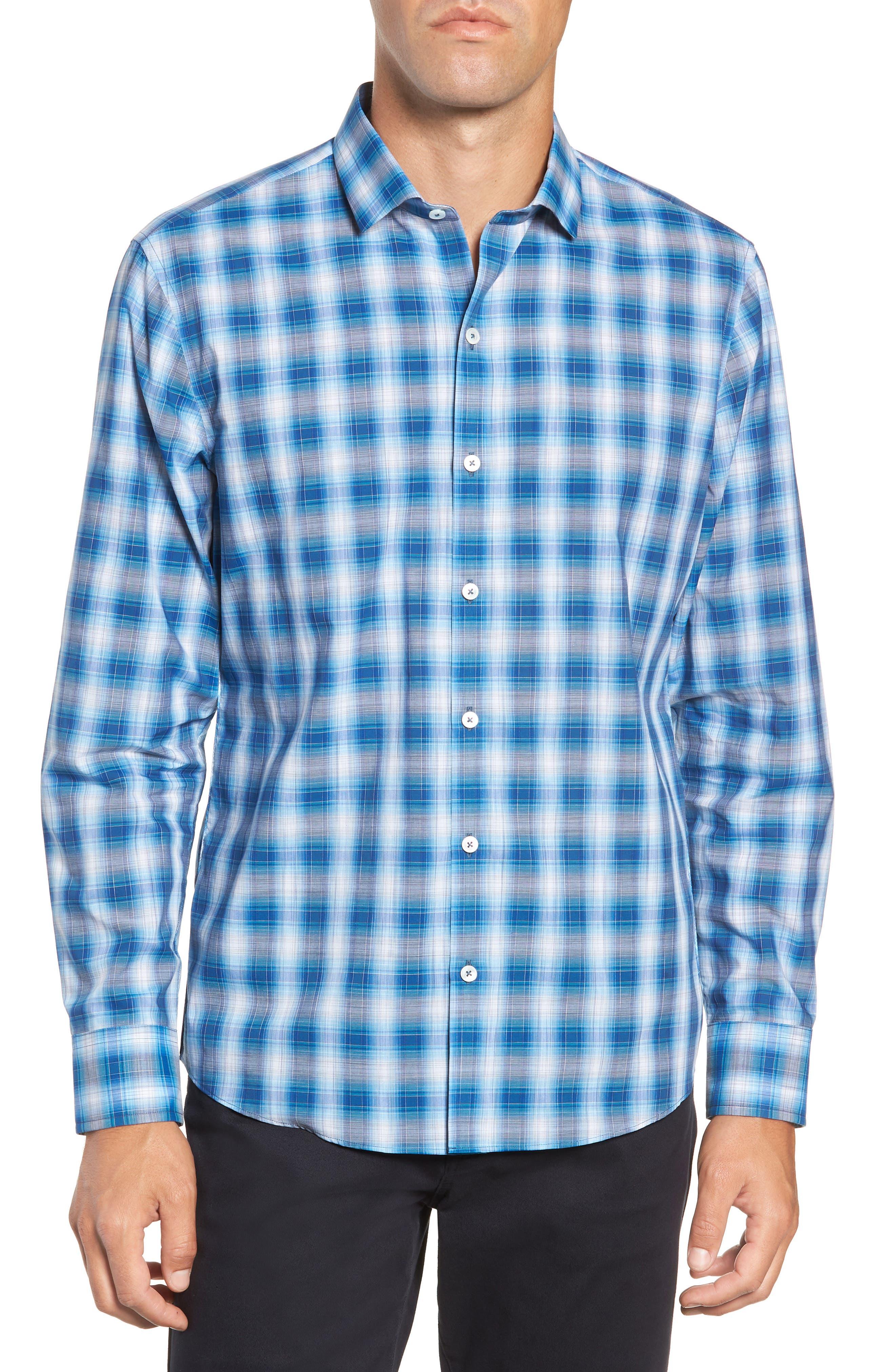 Holtsinger Plaid Sport Shirt,                             Main thumbnail 1, color,                             BRIGHT BLUE