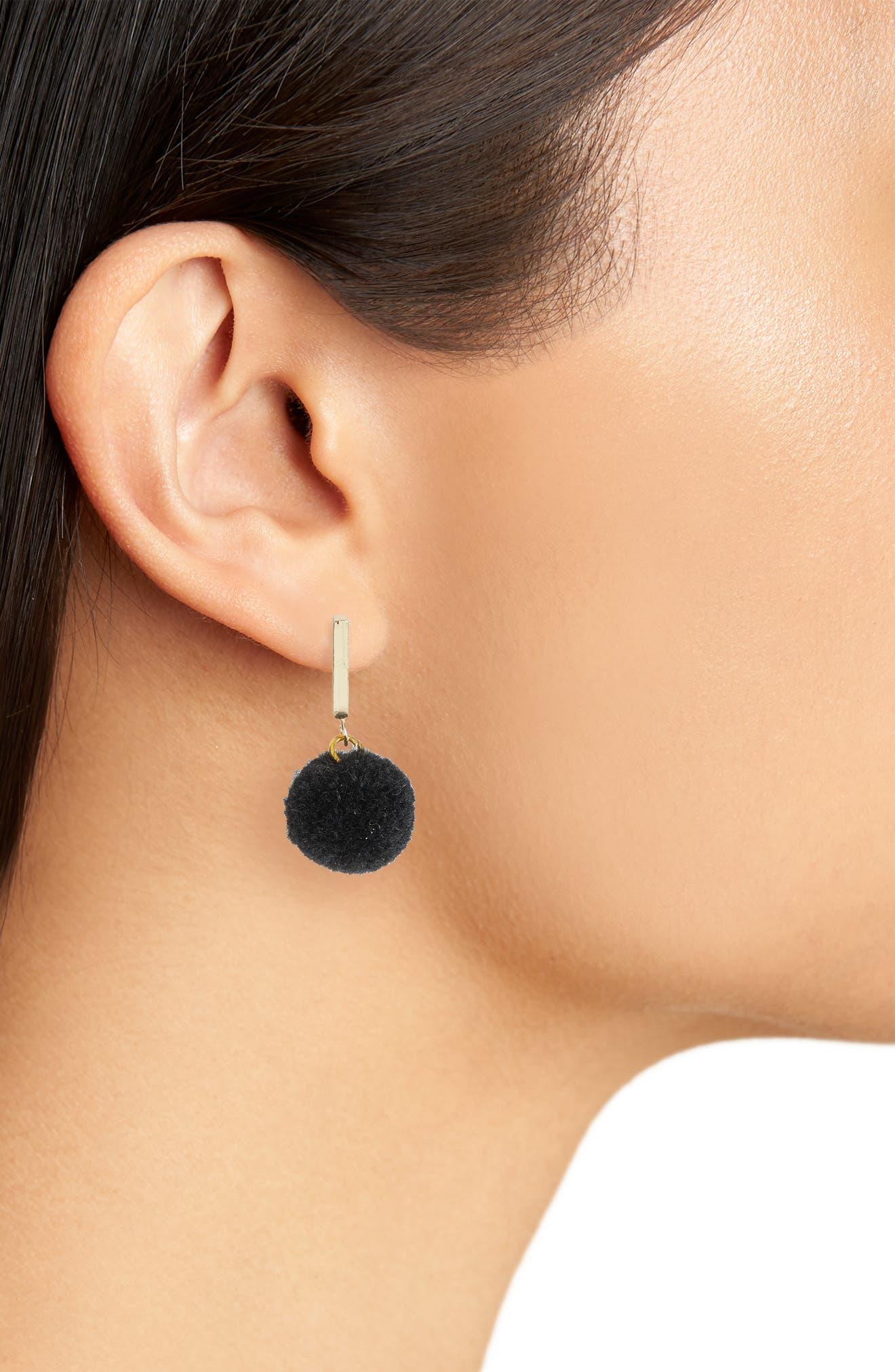 Velvet Pompom Stud Earrings,                             Alternate thumbnail 2, color,                             001