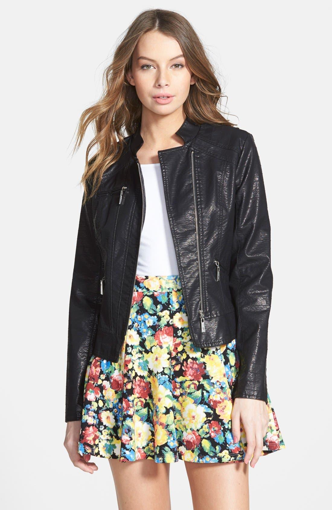 JOU JOU Quilted Faux Leather Moto Jacket, Main, color, 001
