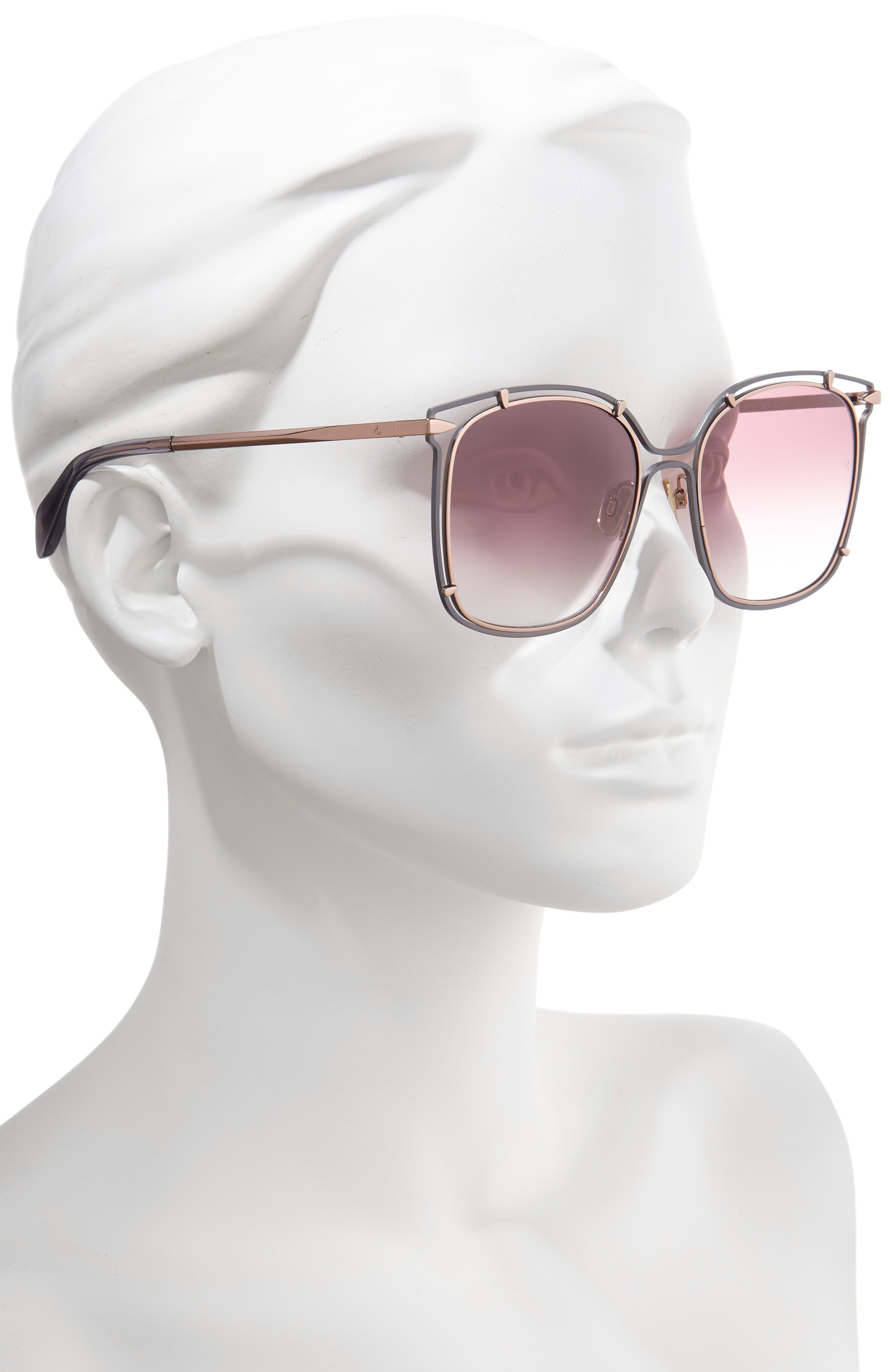 RAG & BONE,                             56mm Gradient Square Sunglasses,                             Alternate thumbnail 2, color,                             GREY/ PINK/ GOLD