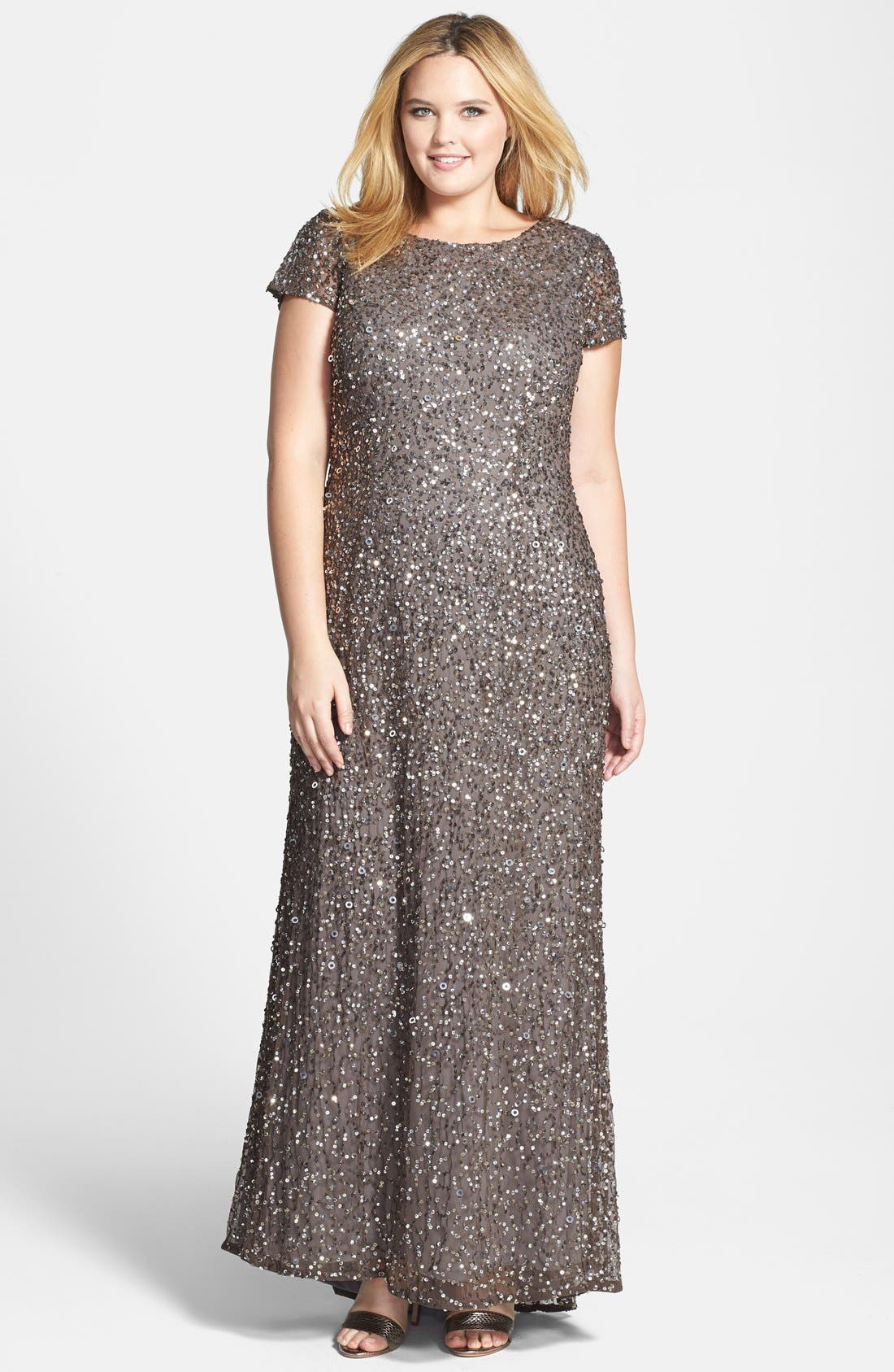 Embellished Scoop Back Gown,                             Main thumbnail 1, color,                             LEAD