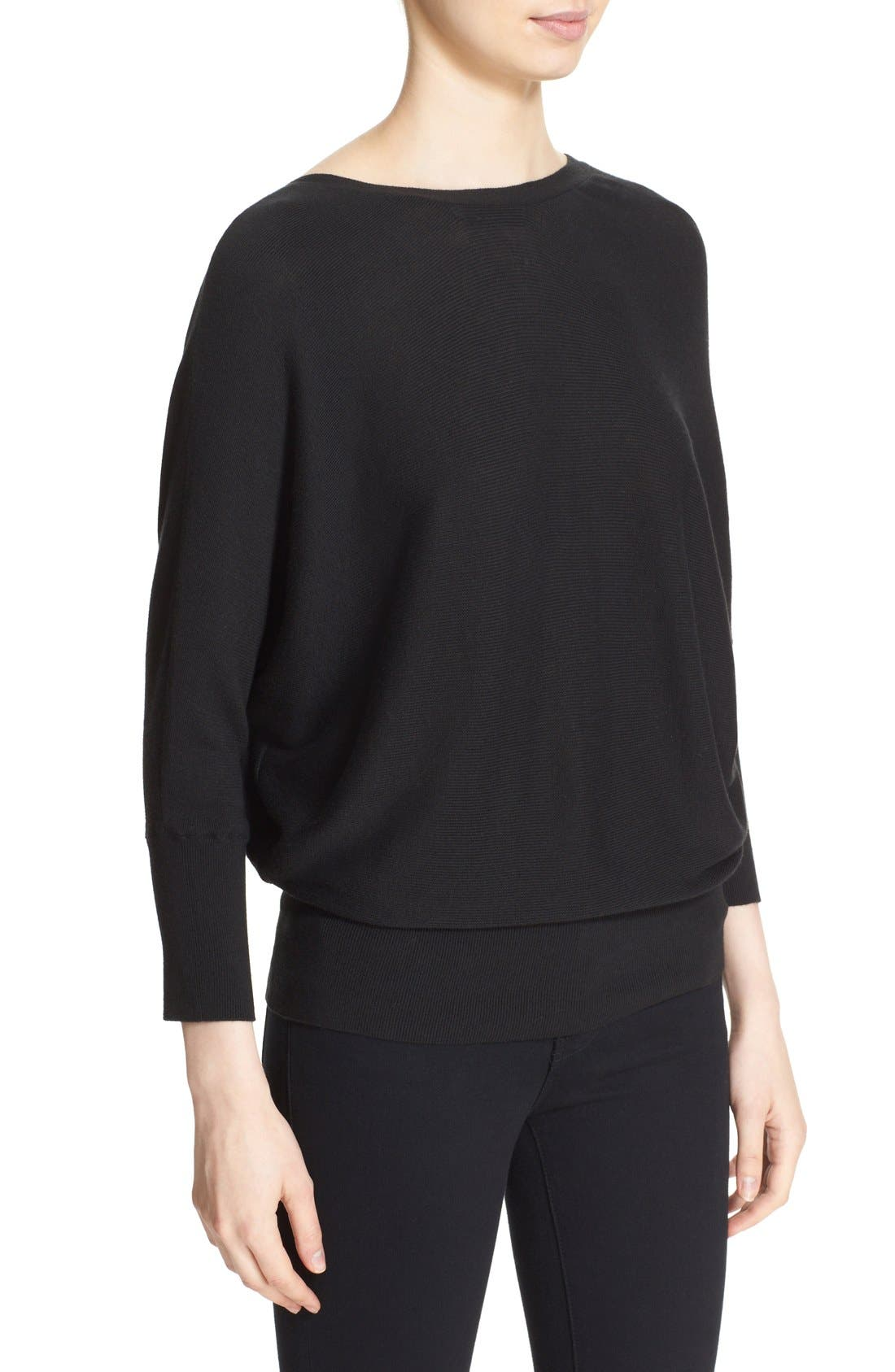 MILLY,                             Convertible Wrap Sweater,                             Alternate thumbnail 3, color,                             001