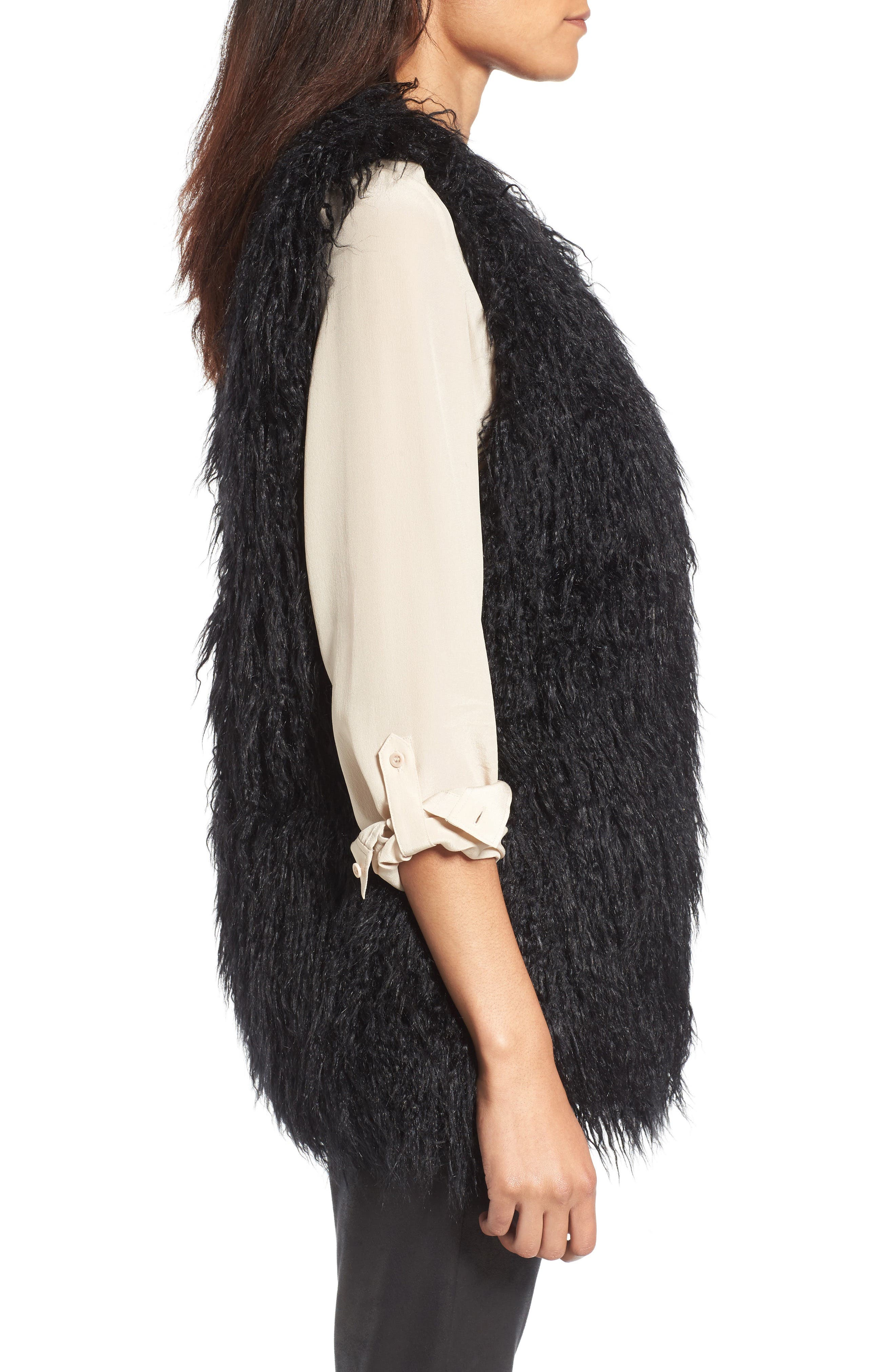 Faux Fur Vest,                             Alternate thumbnail 3, color,                             001