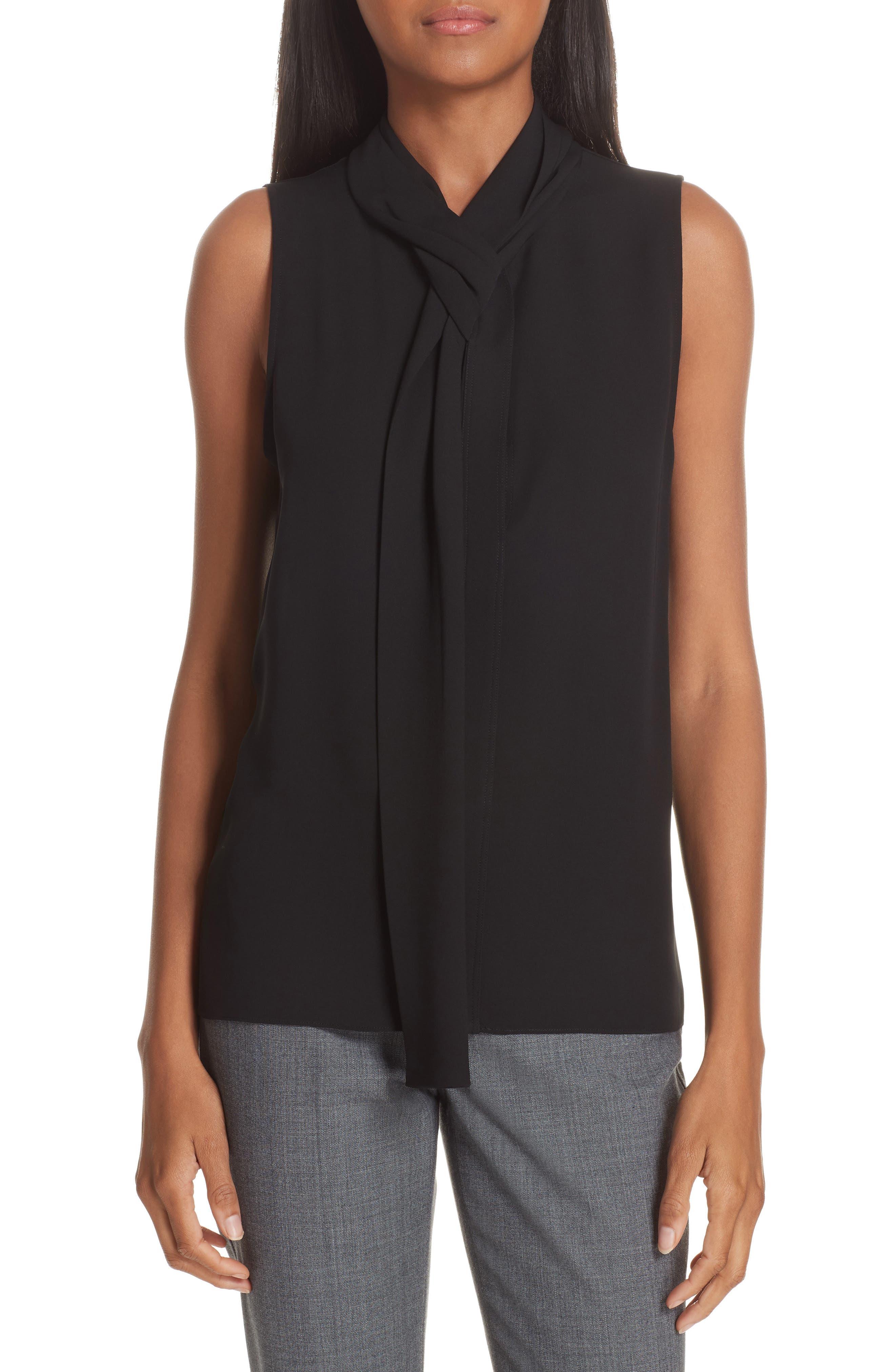 Draped Tie Neck Silk Georgette Shell,                         Main,                         color, BLACK