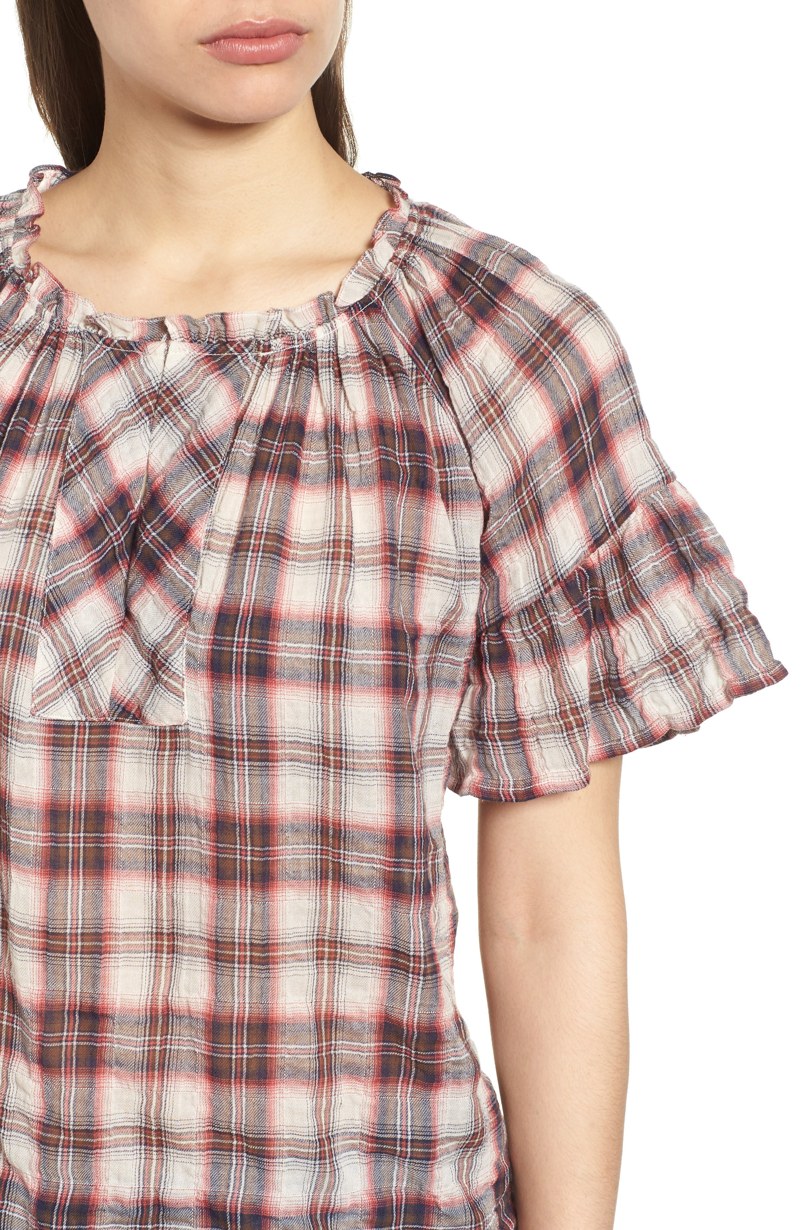 Flutter Sleeve Plaid Top,                             Alternate thumbnail 4, color,                             623