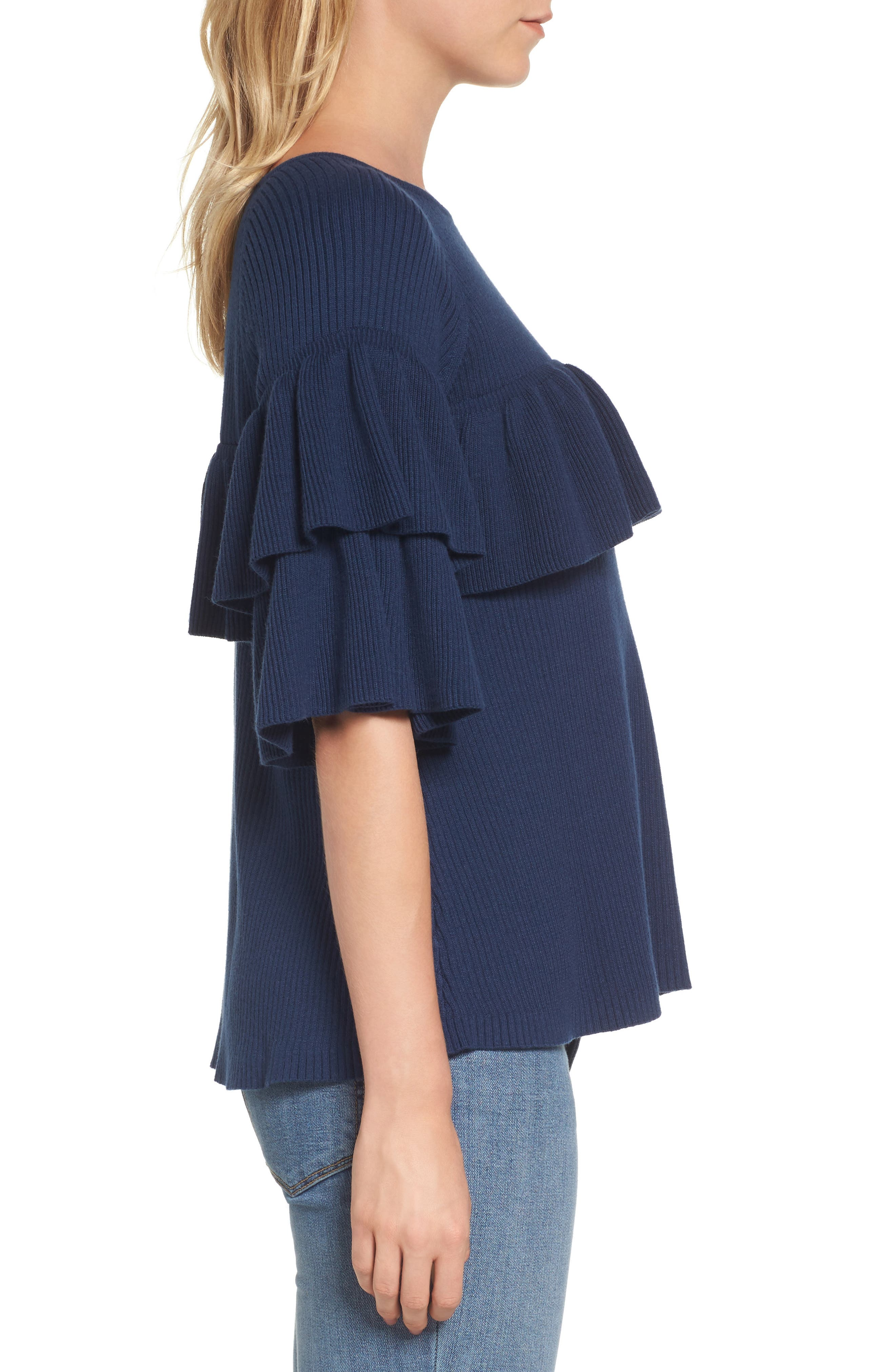 Ribbed Ruffle Sweater,                             Alternate thumbnail 3, color,                             476