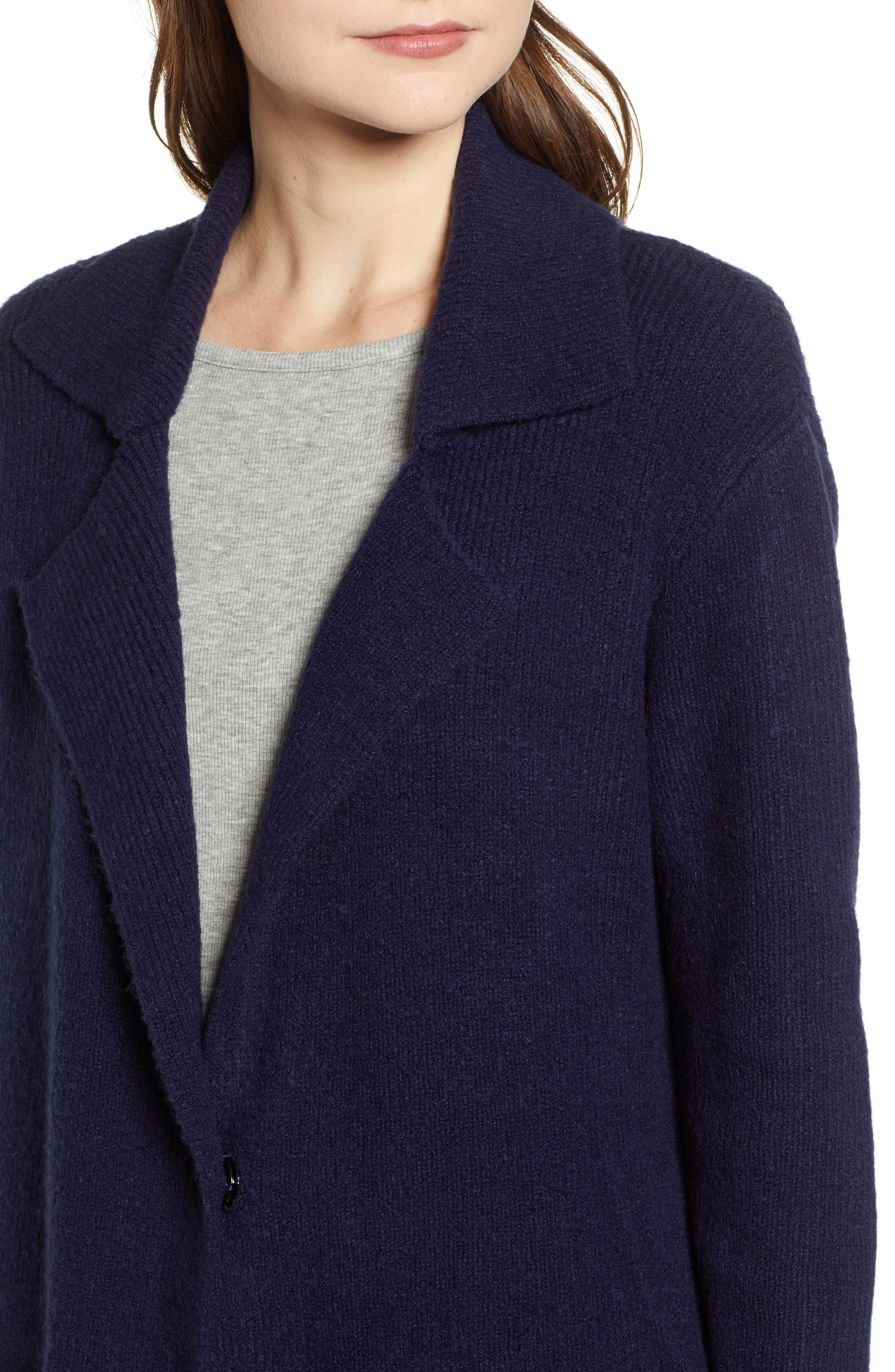 Knit Sweater Coat,                             Alternate thumbnail 4, color,                             NAVY MARITIME