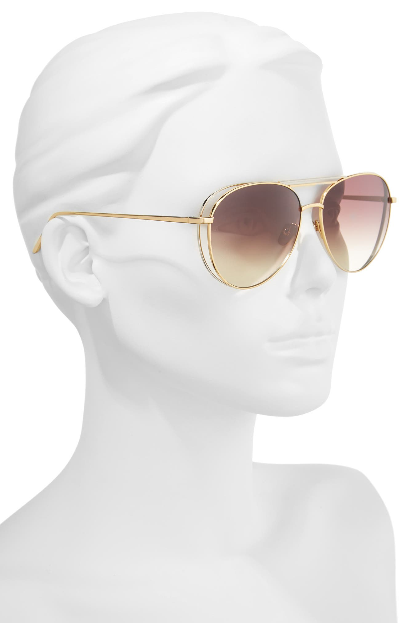 61mm 18 Karat Gold Aviator Sunglasses,                             Alternate thumbnail 5, color,