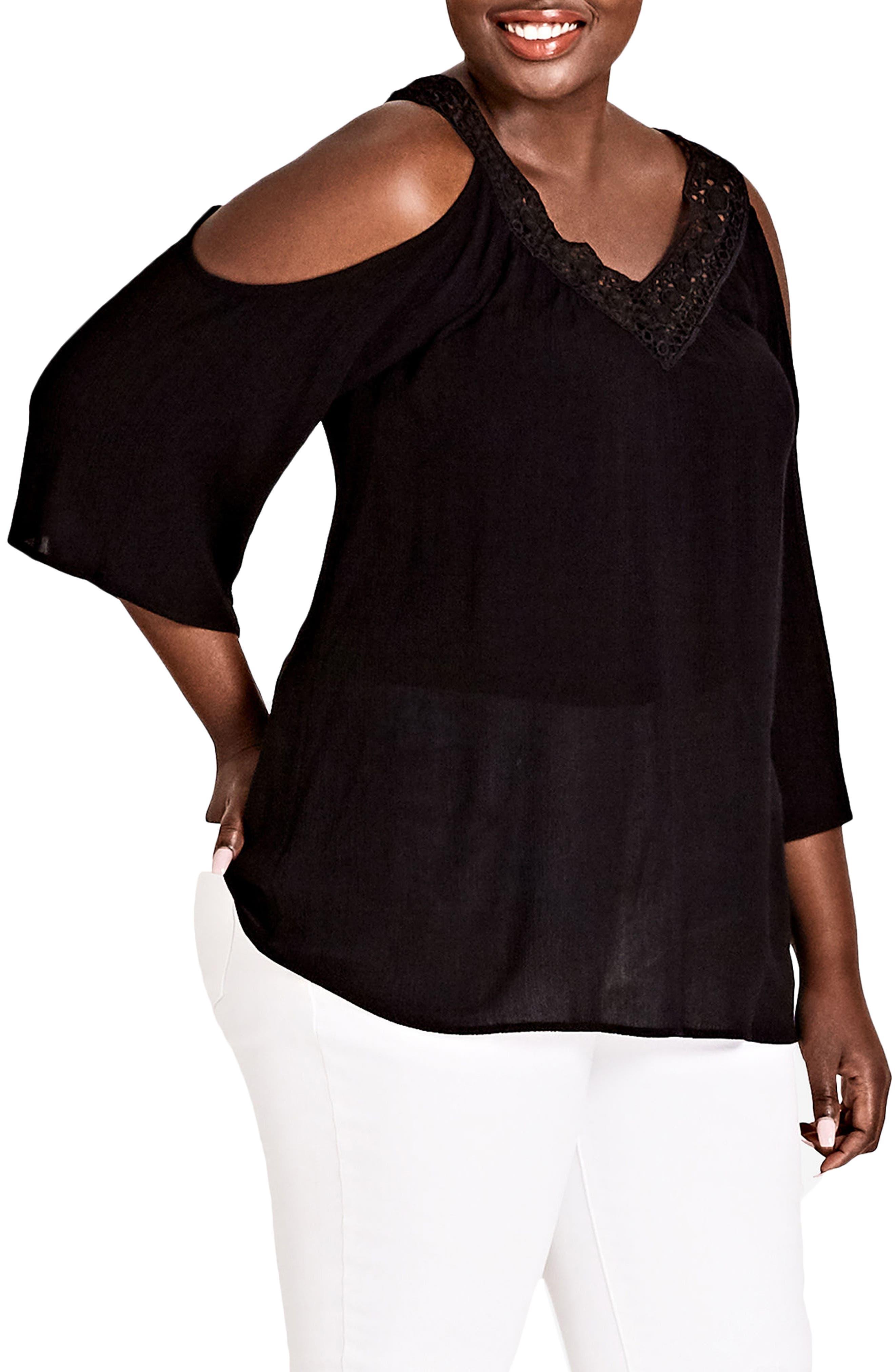 Conchita Cold Shoulder Top,                         Main,                         color, BLACK