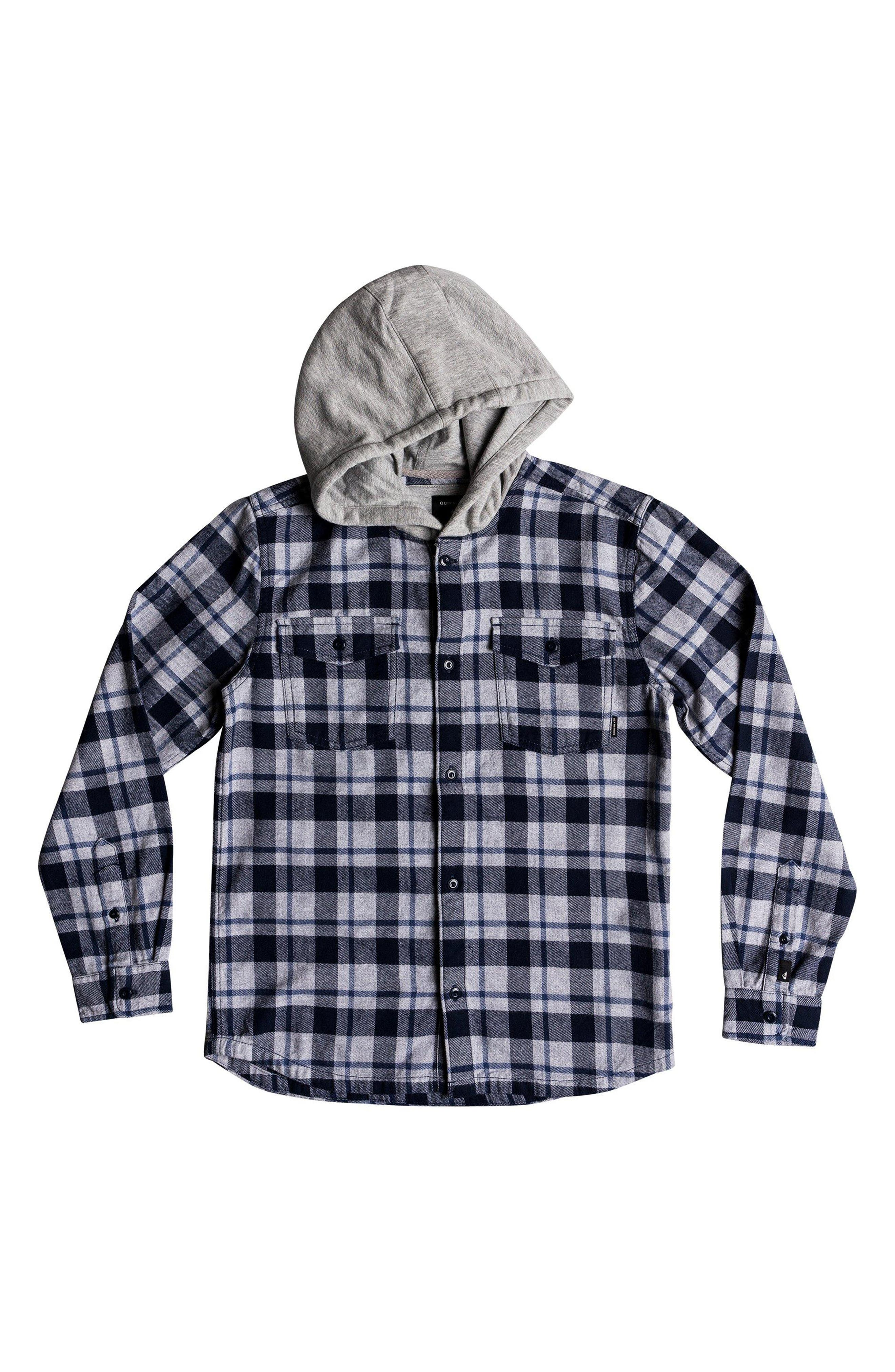 Snap Up Flannel Hoodie,                         Main,                         color, 410