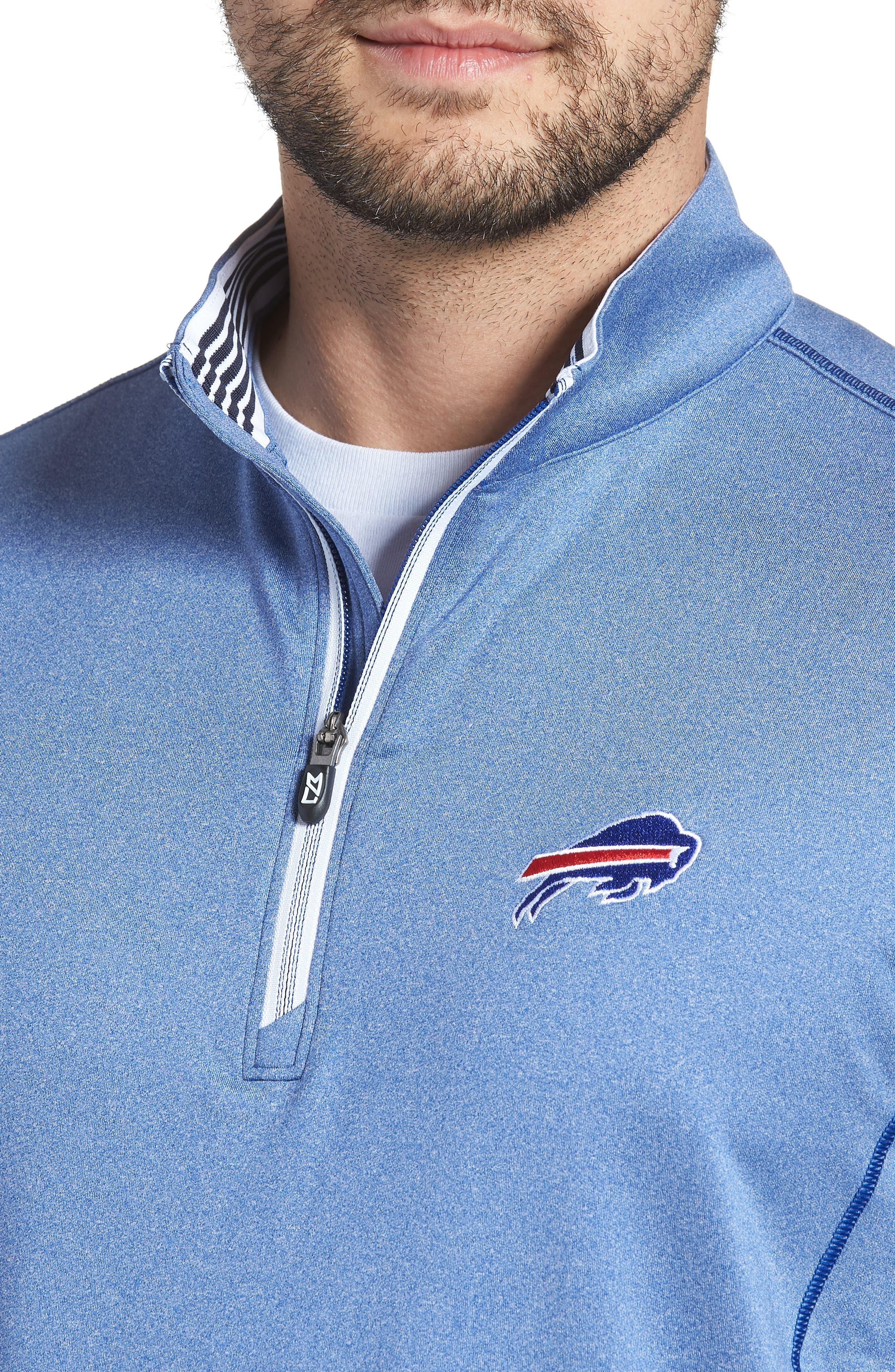 Endurance Buffalo Bills Regular Fit Pullover,                             Alternate thumbnail 4, color,                             TOUR BLUE HEATHER
