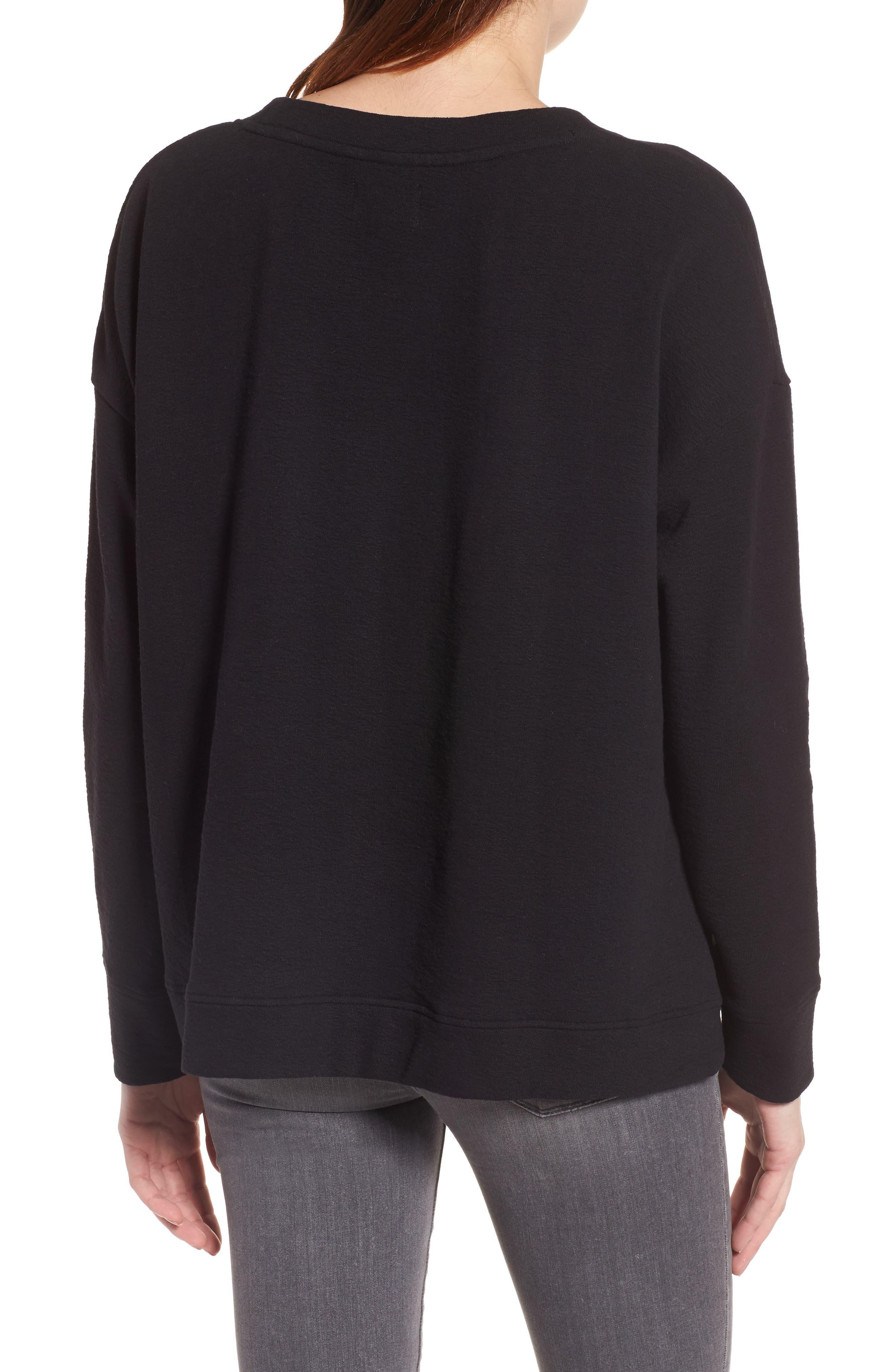 CASLON<SUP>®</SUP>,                             Side Slit Relaxed Sweatshirt,                             Alternate thumbnail 2, color,                             BLACK