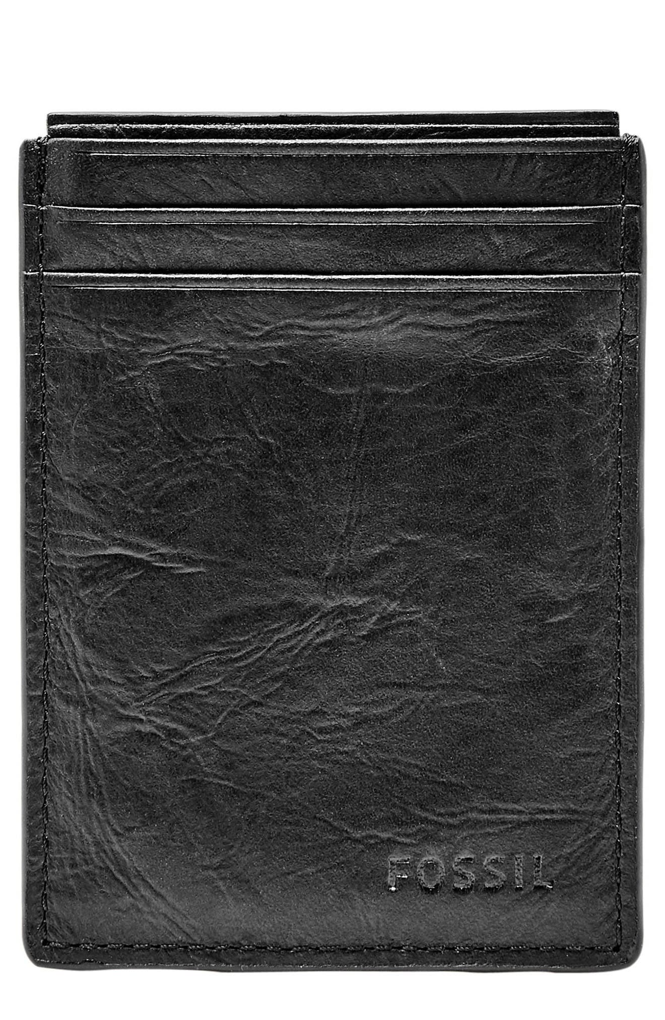 Neel Magnetic Leather Money Clip Card Case,                             Main thumbnail 1, color,                             BLACK