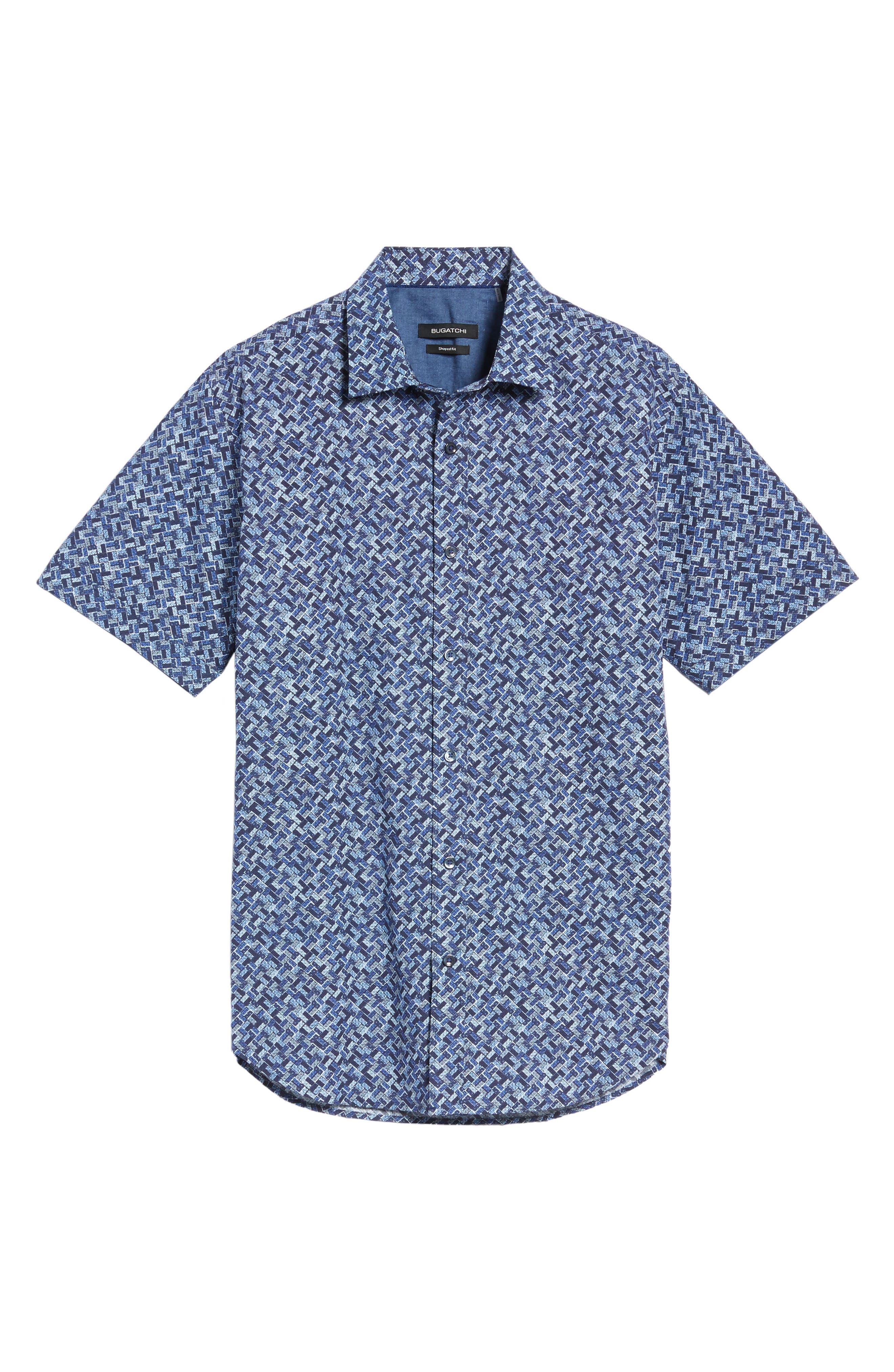 Shaped Fit Print Sport Shirt,                             Alternate thumbnail 6, color,                             411