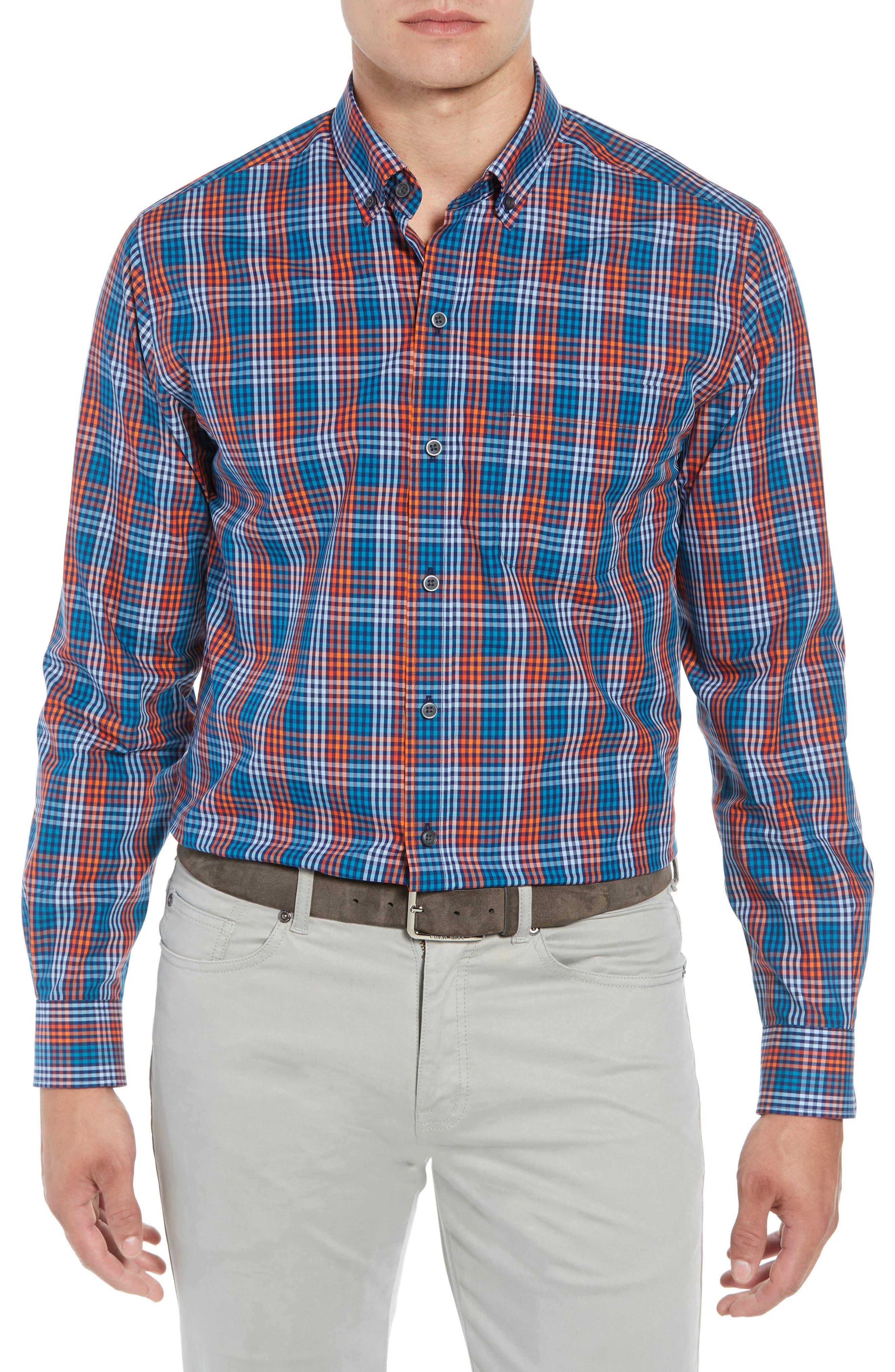 Sutton Regular Fit Non-Iron Check Sport Shirt,                         Main,                         color, ALARM
