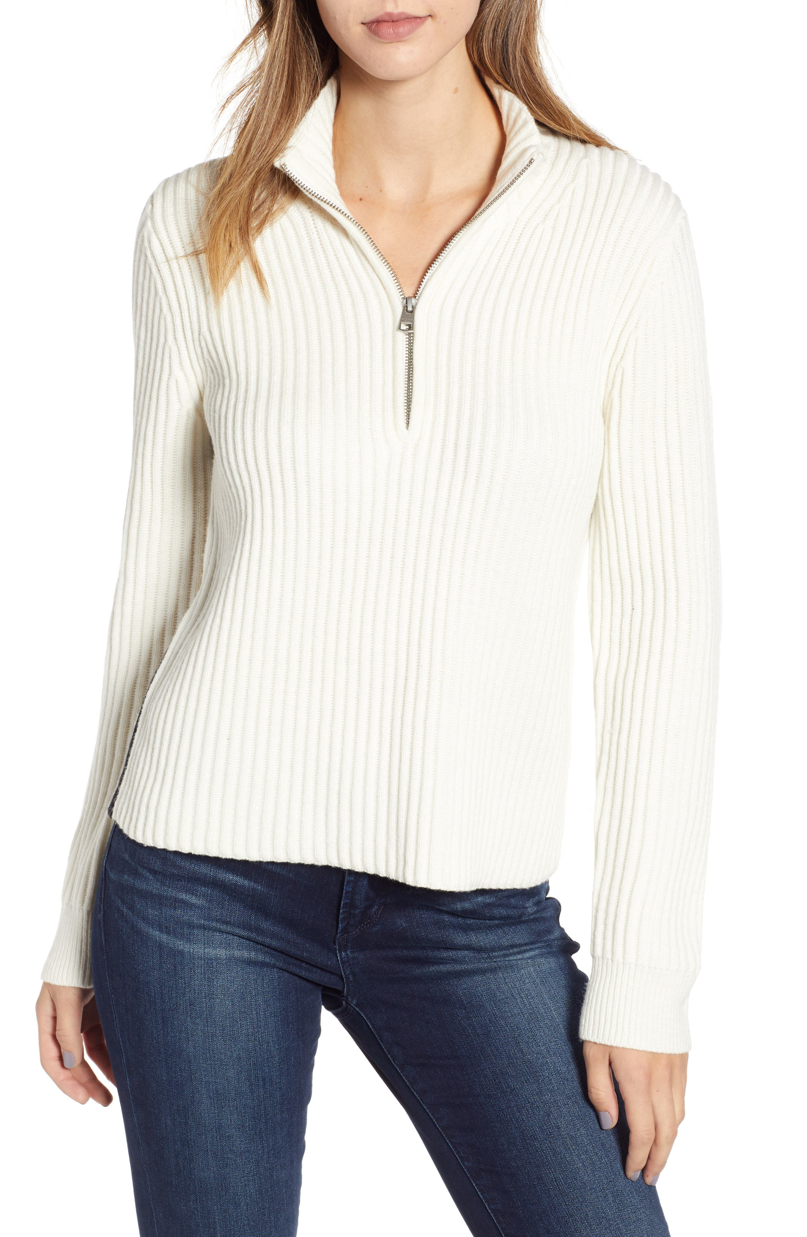 Half Zip Wool Blend Sweater,                         Main,                         color, GREY