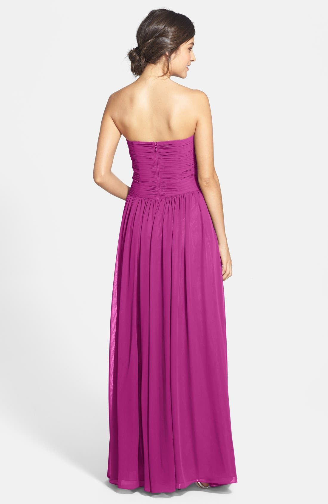 Strapless Ruched Chiffon Gown,                             Alternate thumbnail 32, color,