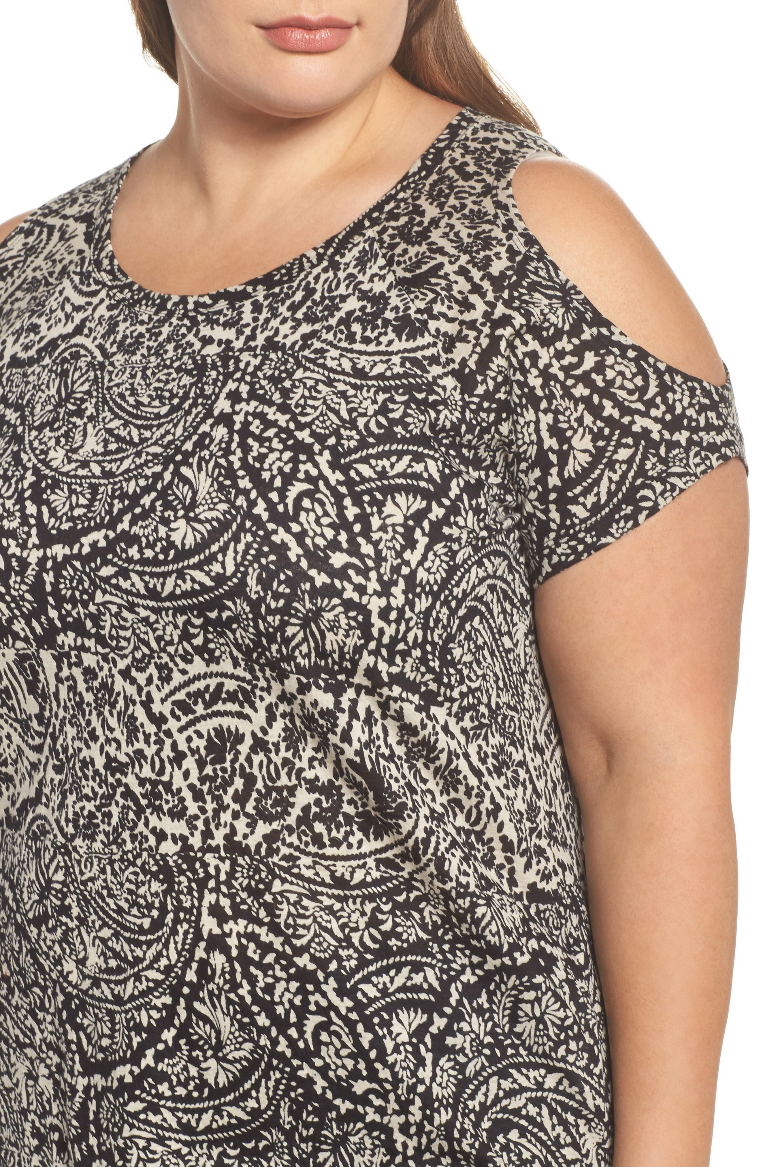 Paisley Print Cold Shoulder Tee,                             Alternate thumbnail 4, color,                             006