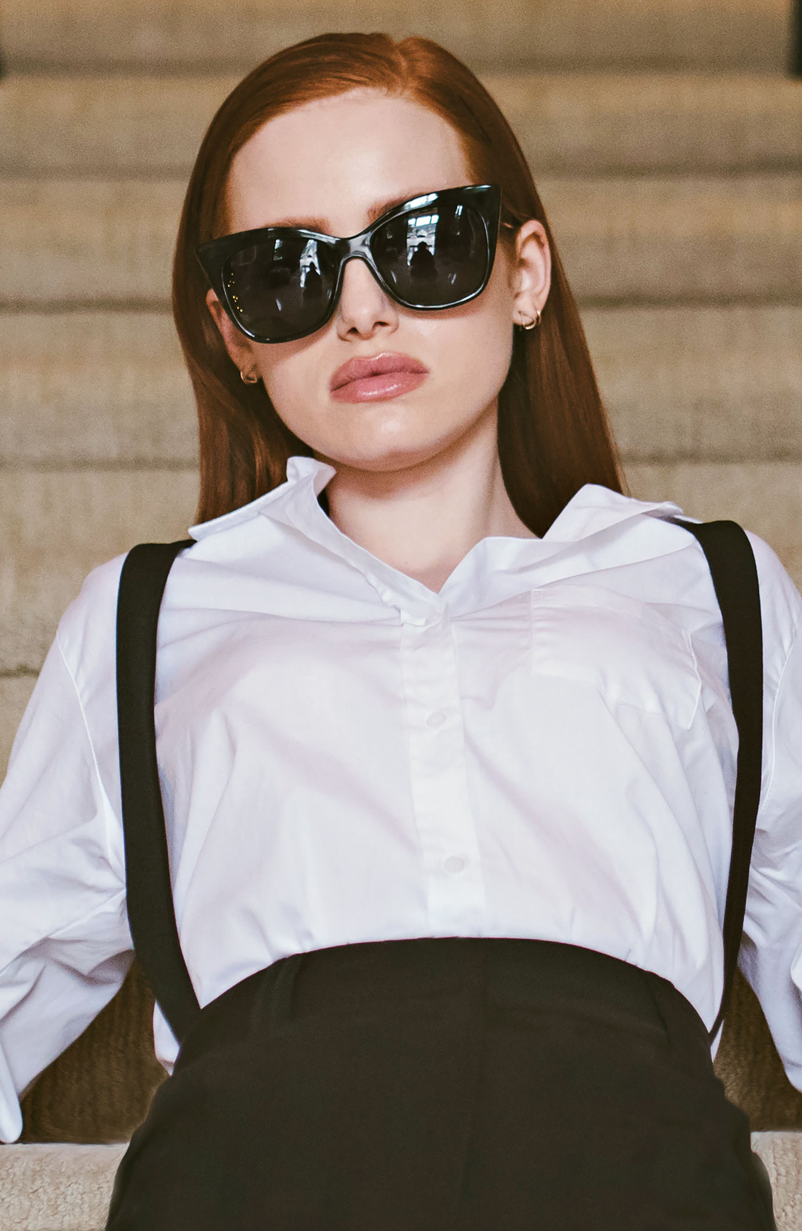 Privé Revaux x Madelaine Petsch The Mister 54mm Cat Eye Sunglasses,                             Alternate thumbnail 6, color,                             BLACK/ BLACK
