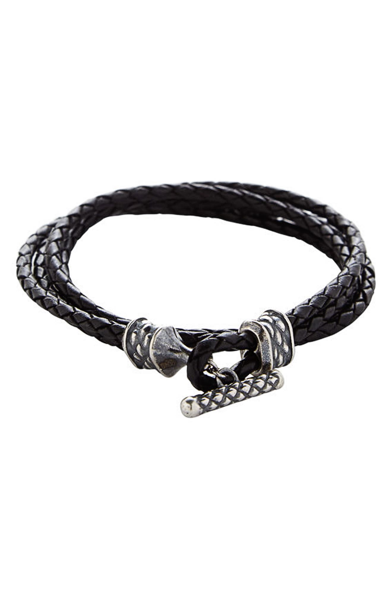 Stealth Leather Wrap Bracelet,                         Main,                         color, 001