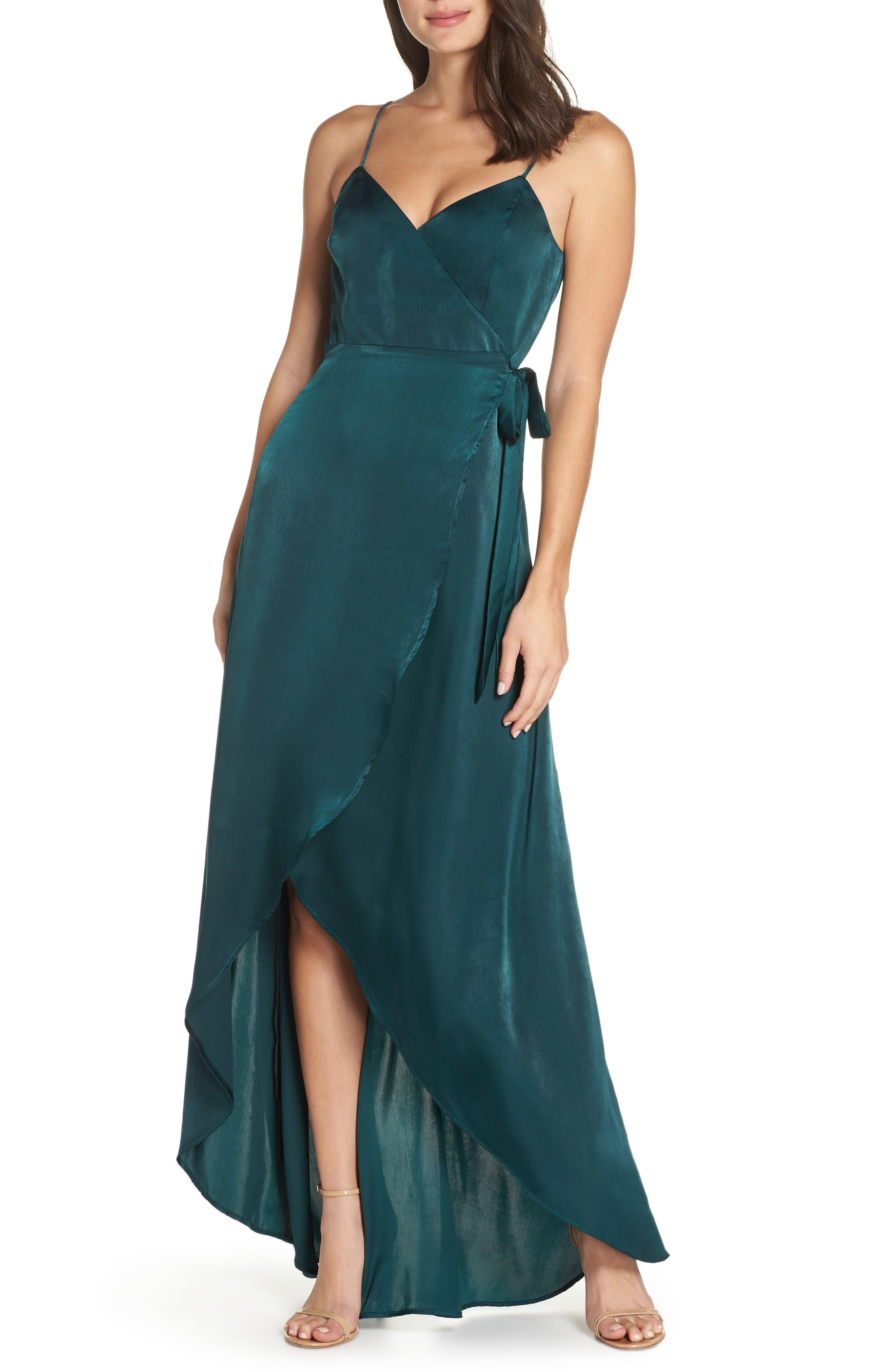 Mariah Satin Wrap Evening Dress,                             Main thumbnail 1, color,                             301