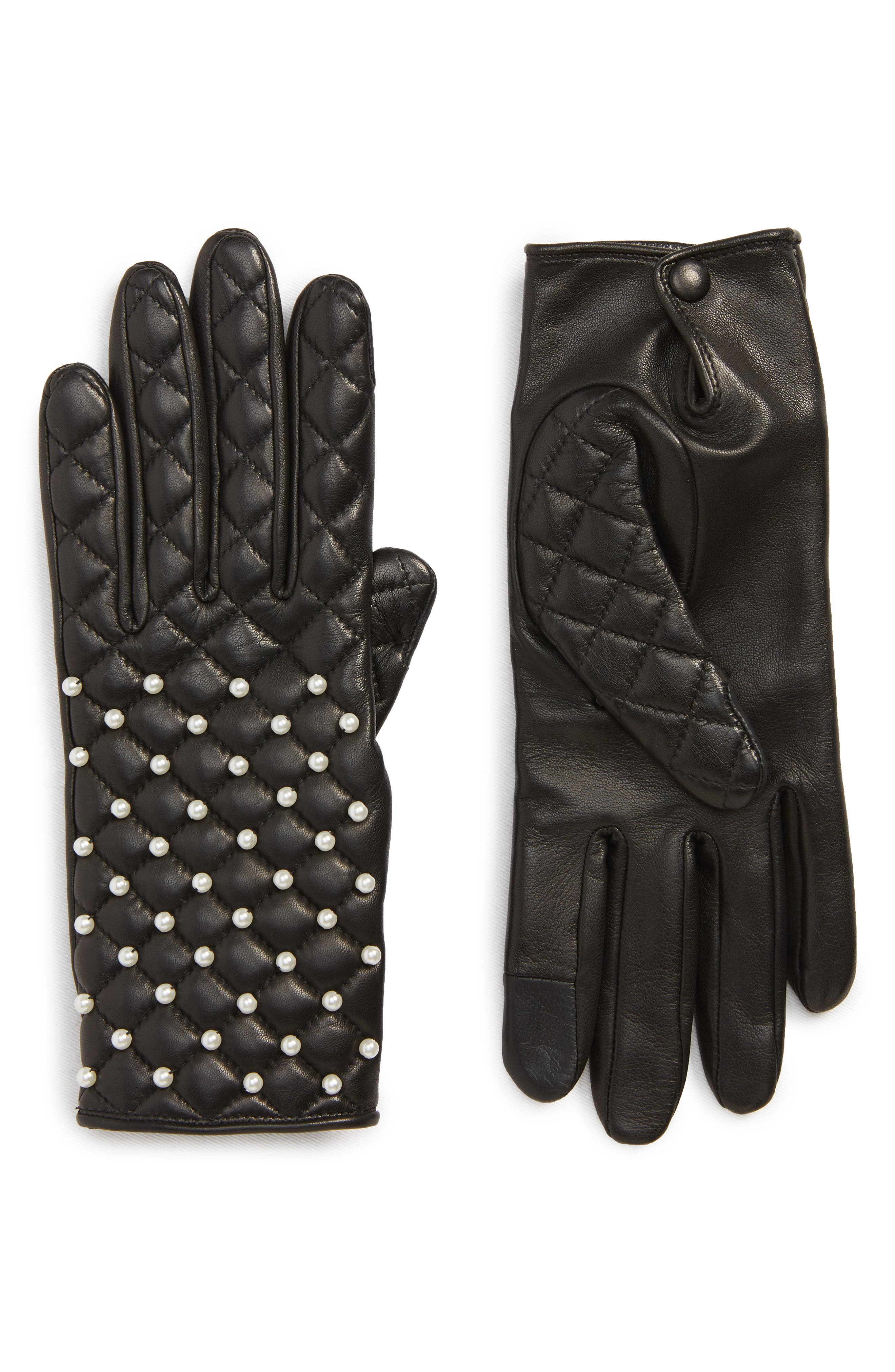 Agnelle Imitation Pearl Quilted Lambskin Leather Gloves, Black