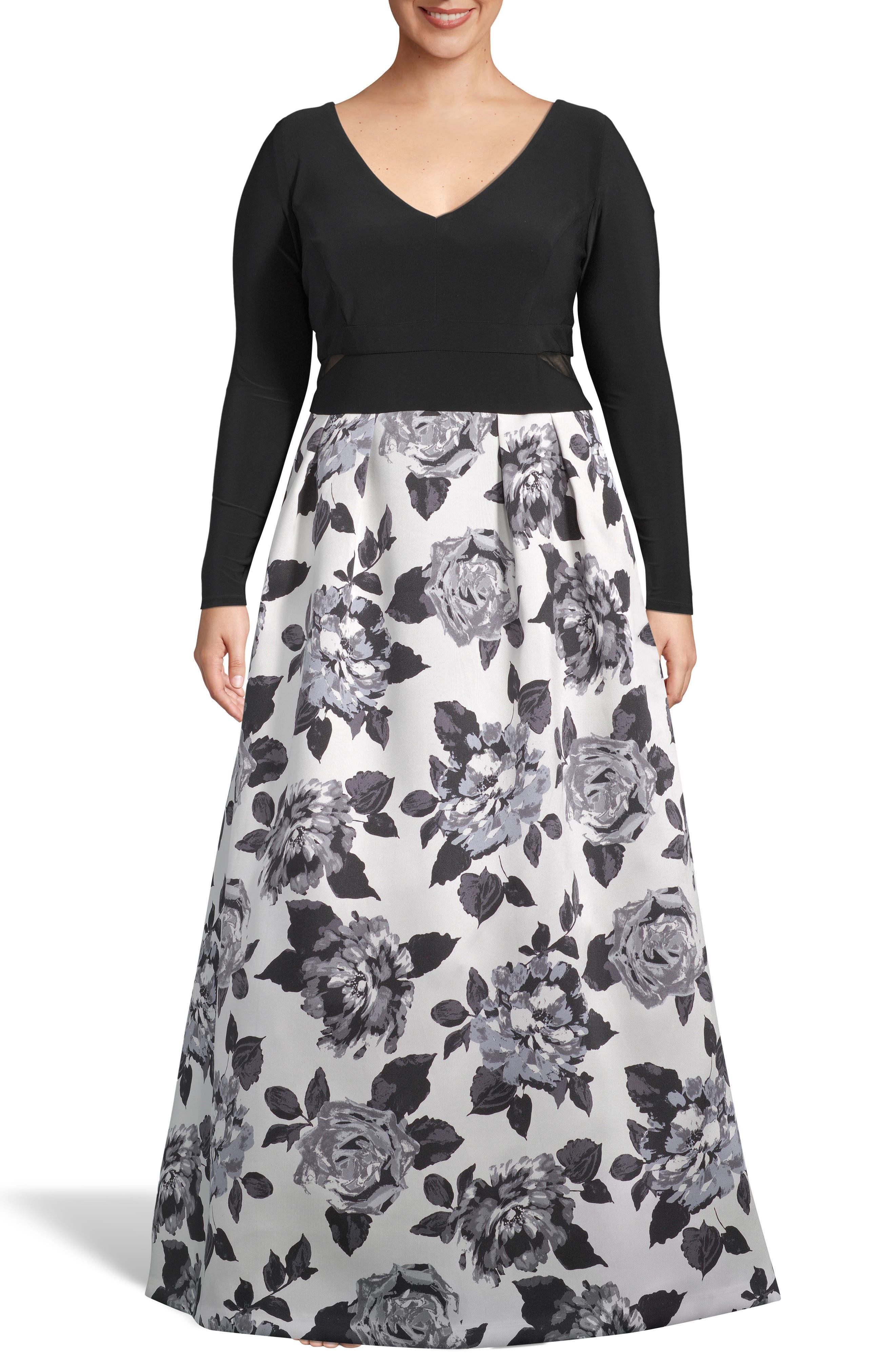 Plus Size Xscape Floral Print Skirt Evening Dress, Black