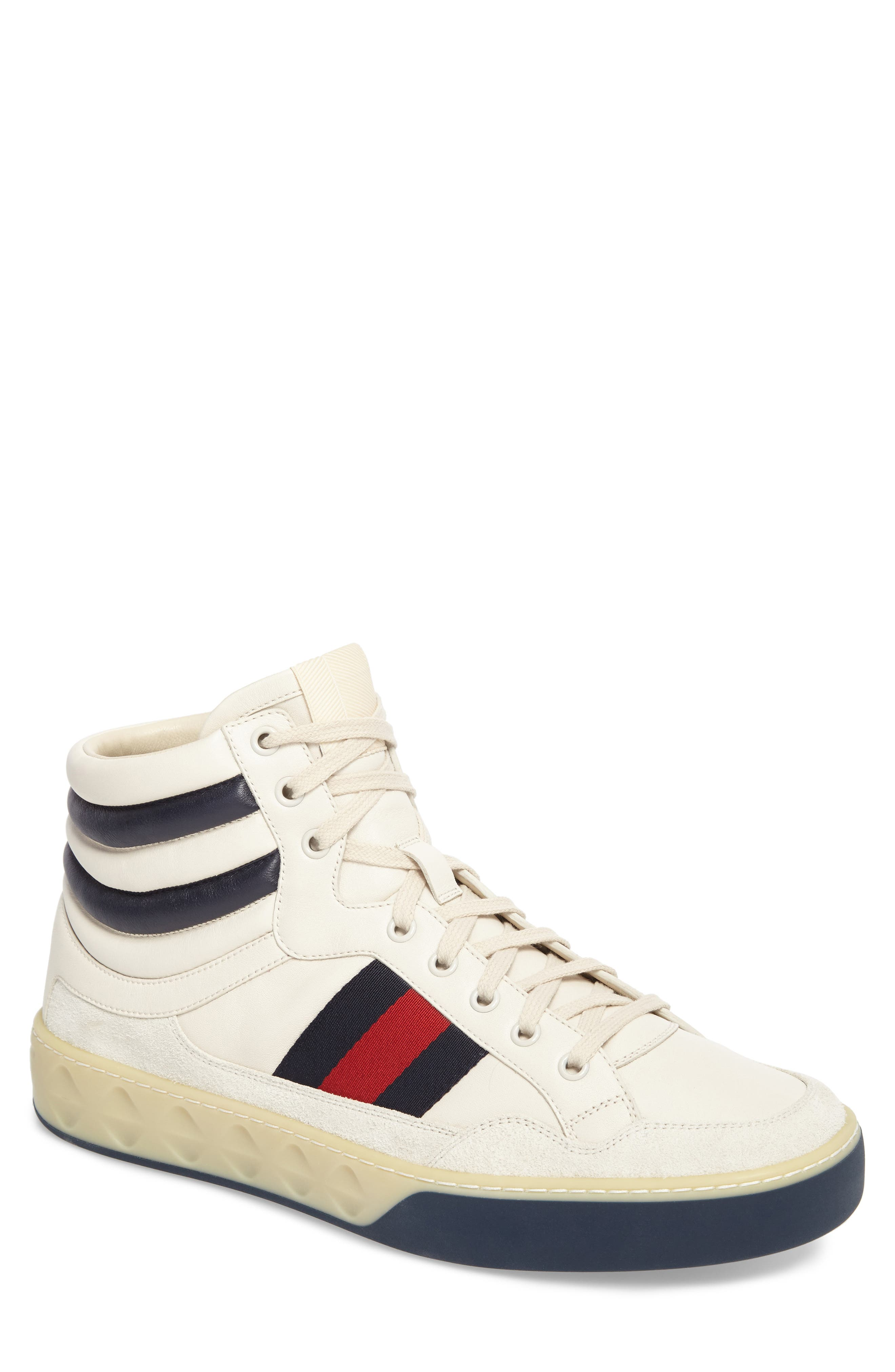 Leather High Top Sneaker,                             Main thumbnail 1, color,                             WHITE LEATHER/ SUEDE