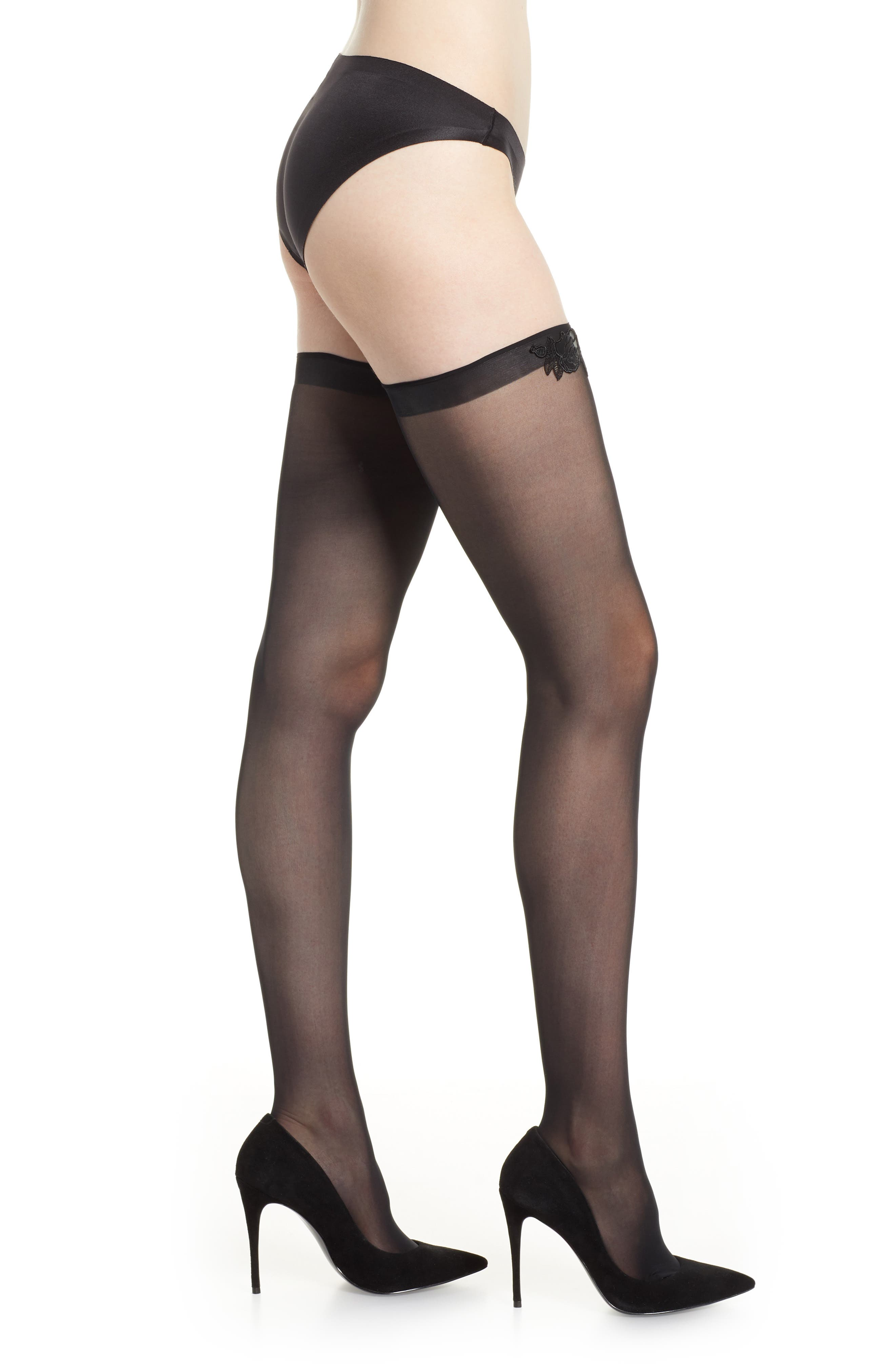 Valentina Stay-Up Stockings,                             Main thumbnail 1, color,                             BLACK