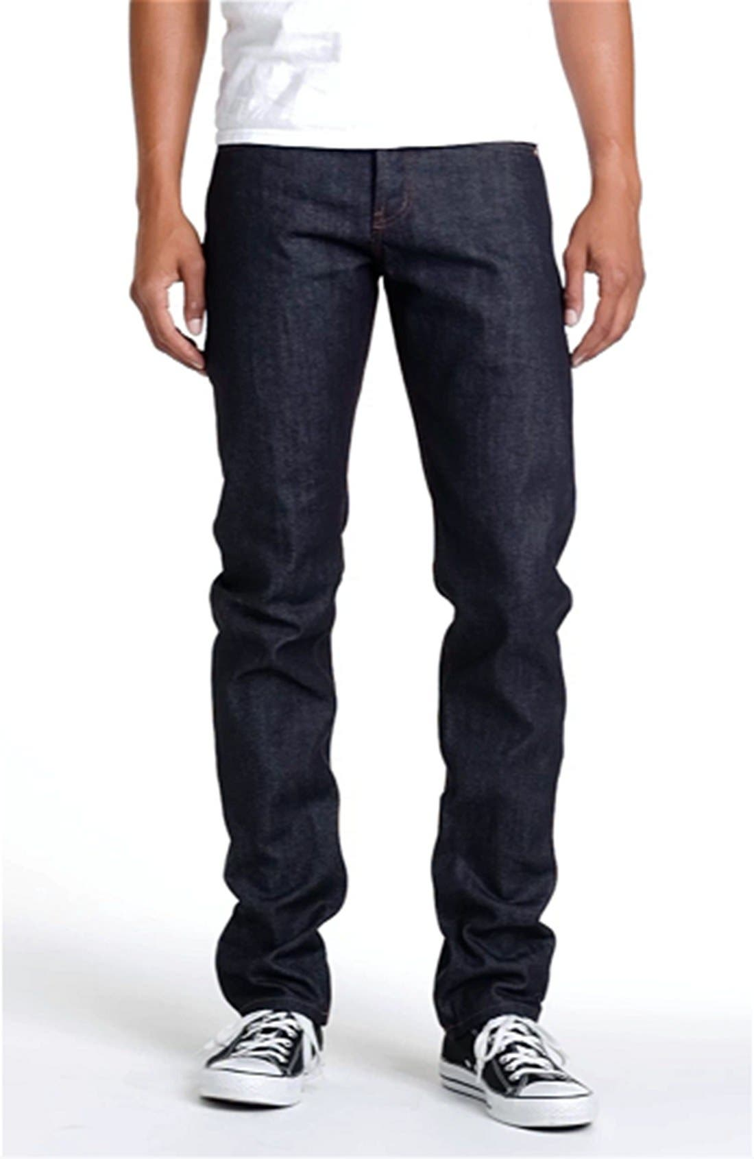 UB201 Tapered Fit Raw Selvedge Jeans,                             Alternate thumbnail 8, color,                             INDIGO