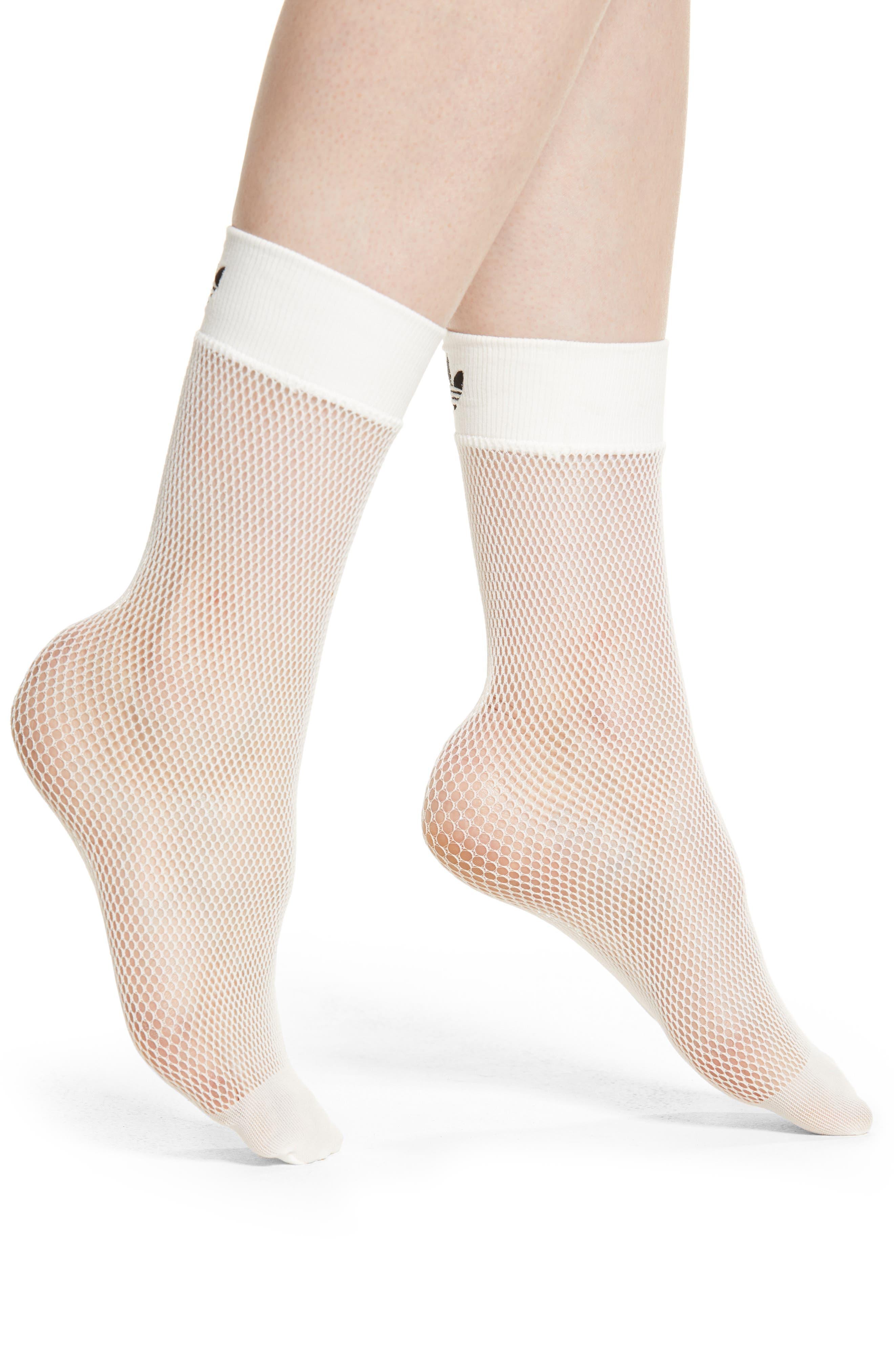 Fishnet Ankle Socks,                         Main,                         color, WHITE