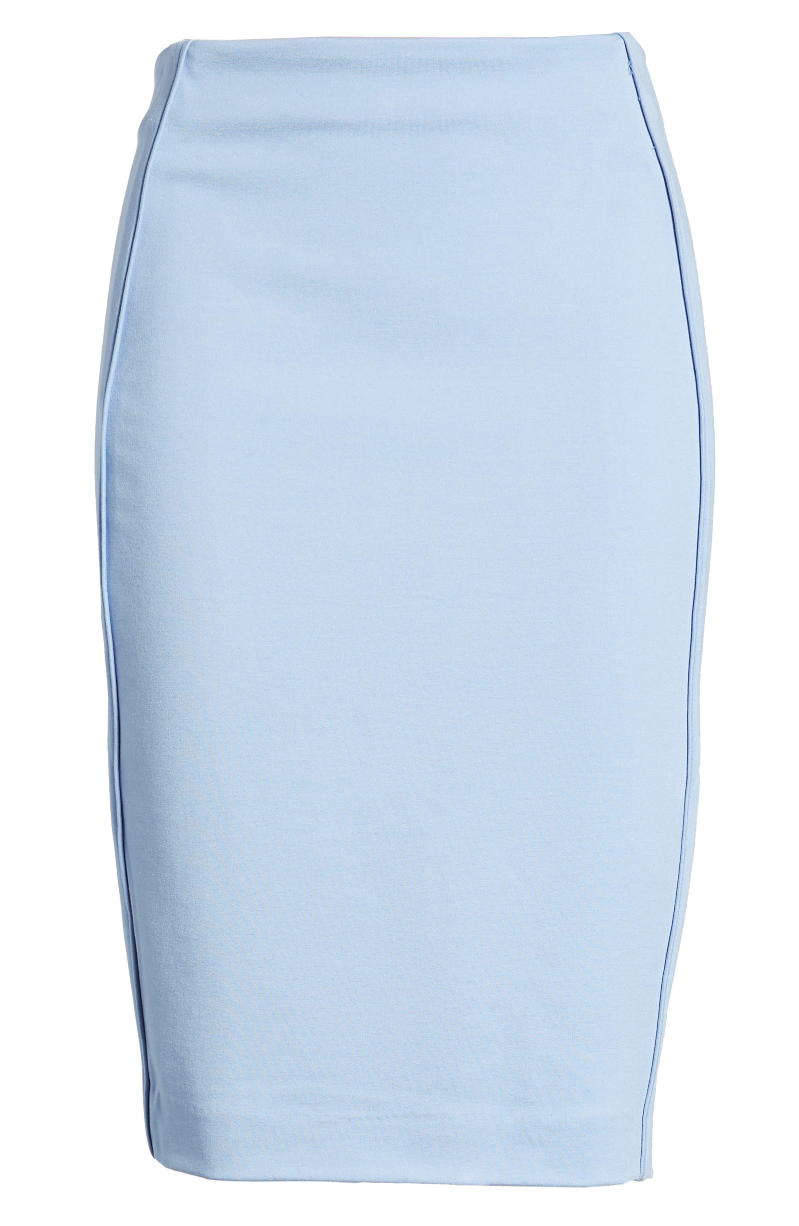 Ponte Pencil Skirt,                             Alternate thumbnail 6, color,                             SOFT BLUE