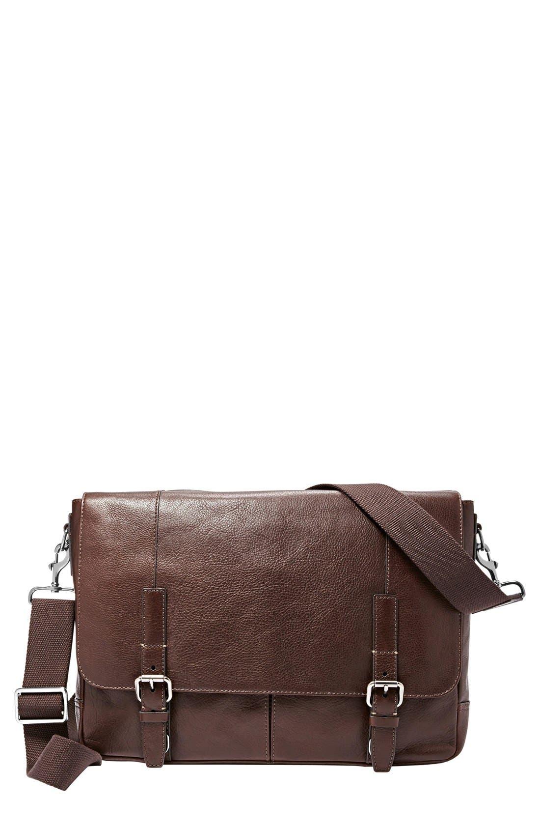 'Graham' Leather Messenger Bag, Main, color, 201
