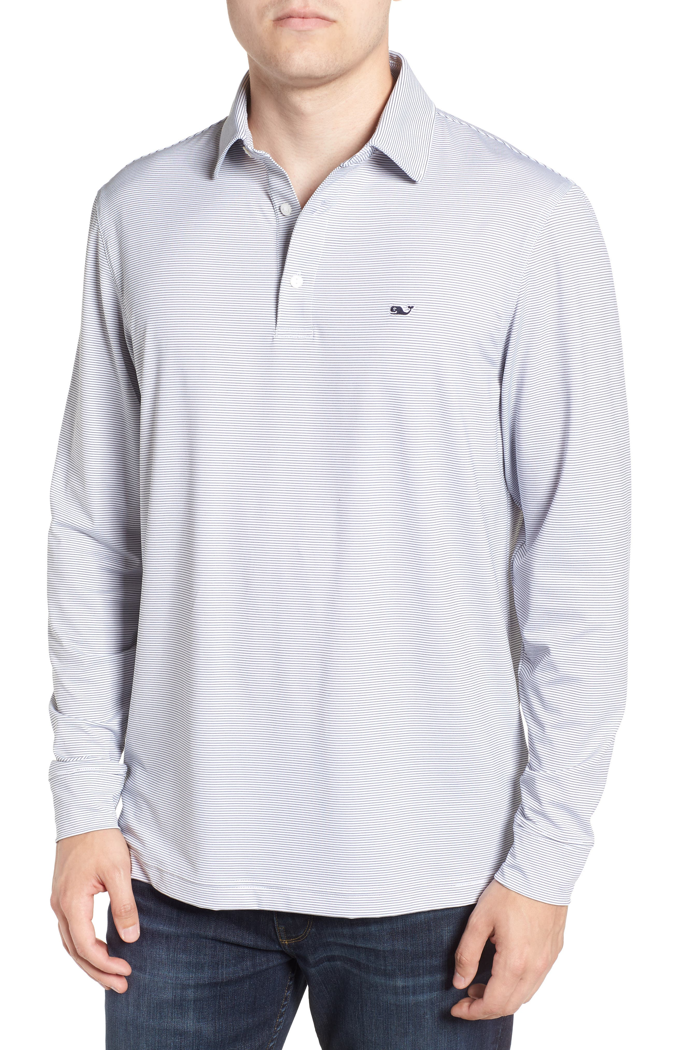 Stripe Long Sleeve Regular Fit Polo,                         Main,                         color, WHITE CAP