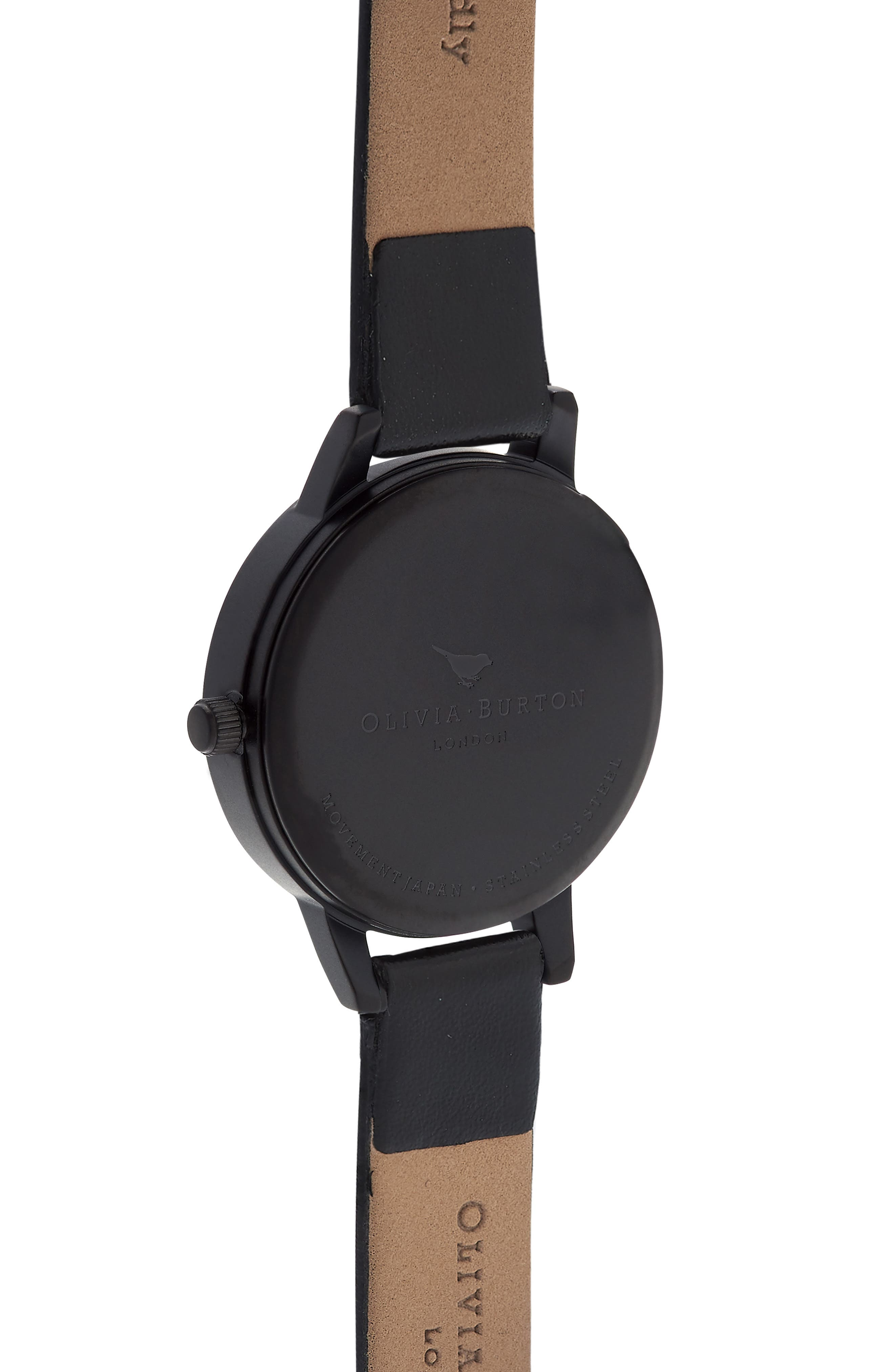After Dark Leather Strap Watch, 30mm,                             Alternate thumbnail 2, color,                             BLACK FLORAL