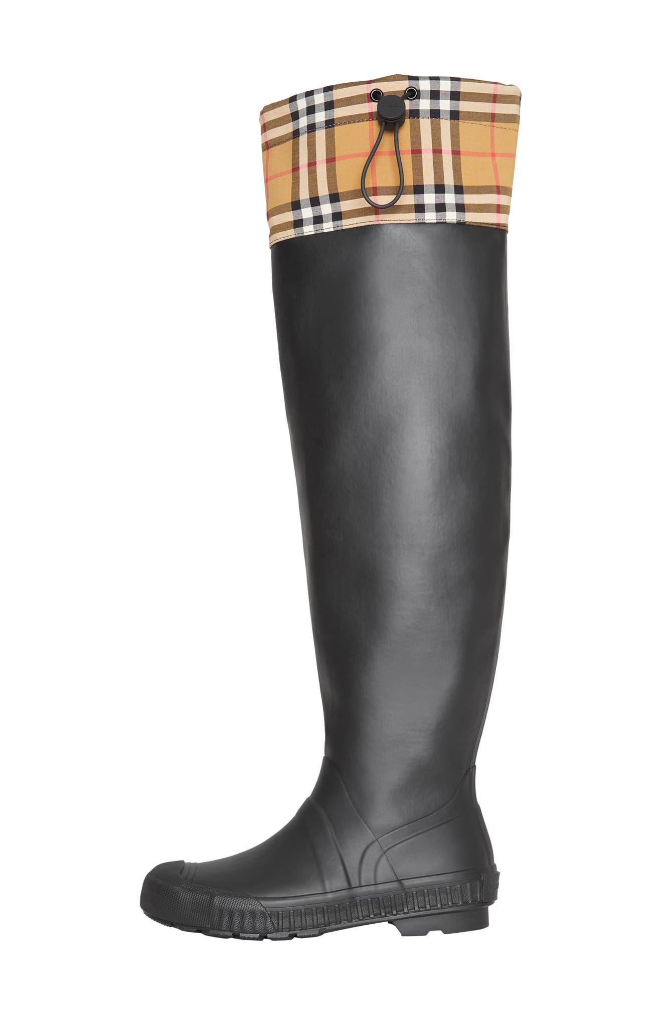 BURBERRY,                             Freddie Tall Waterproof Rain Boot,                             Alternate thumbnail 7, color,                             BLACK