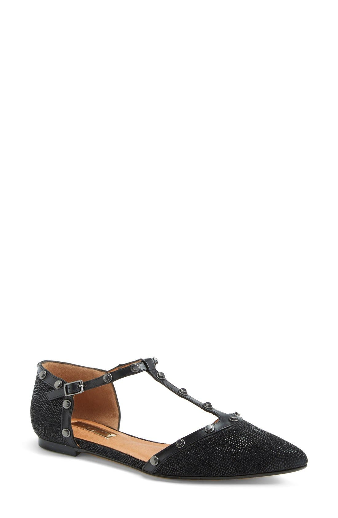 'Olson' Pointy Toe Studded T-Strap Flat,                             Main thumbnail 3, color,